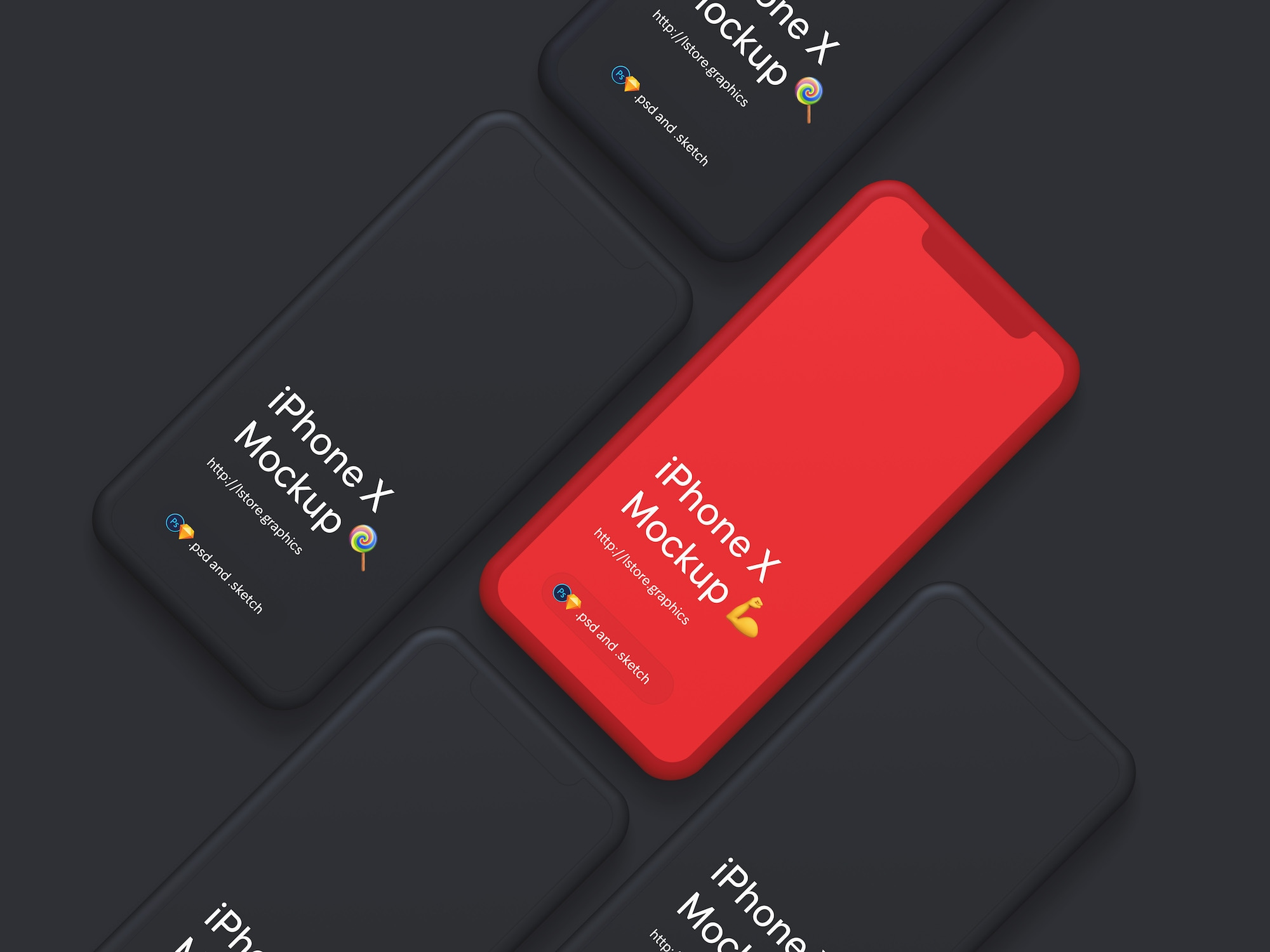 Simple iPhone X Mockups - Super clean, minimalistic free iPhone X mockups with awesome customization features and huge resolution.