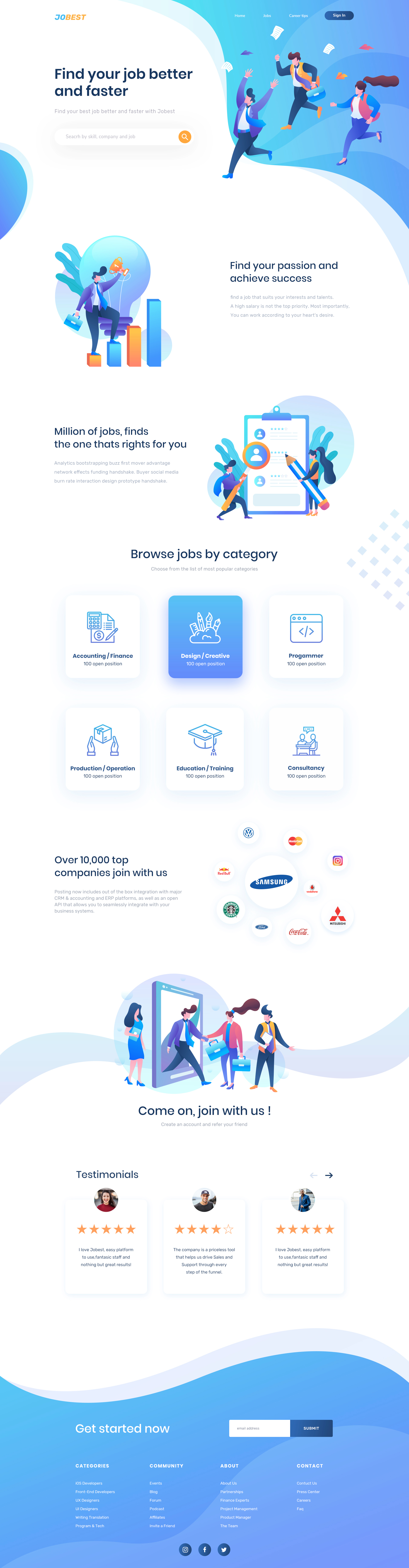 Jobest - Job Portal Landing Page - A job vacancy portal homepage design with amazing illustrations. Designed by Dwipo Prawiro.