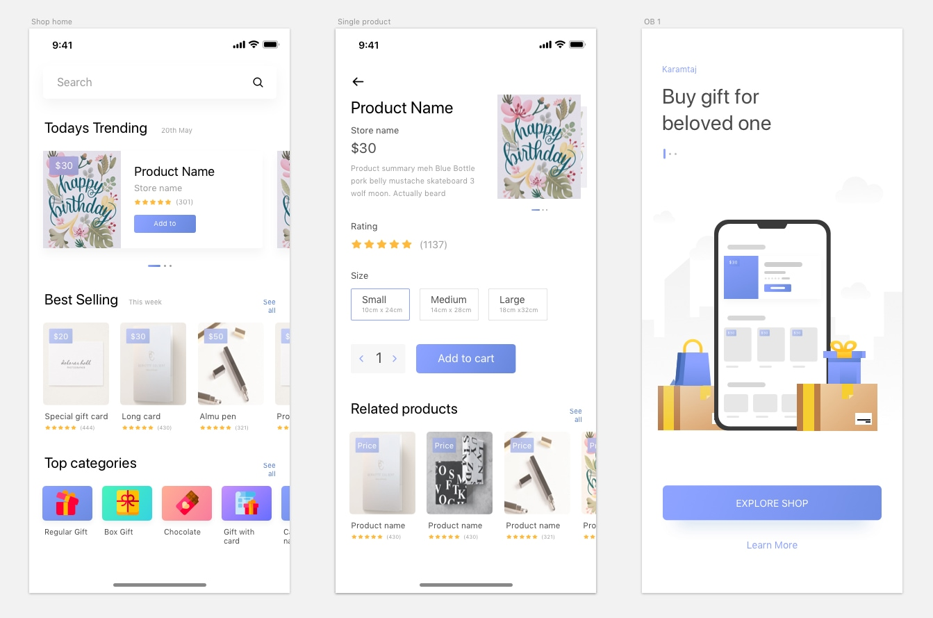 Kamartaj Gift Shop UI Kit - Made for both iphone 8 and iphone X. Designed by Shojol Islam