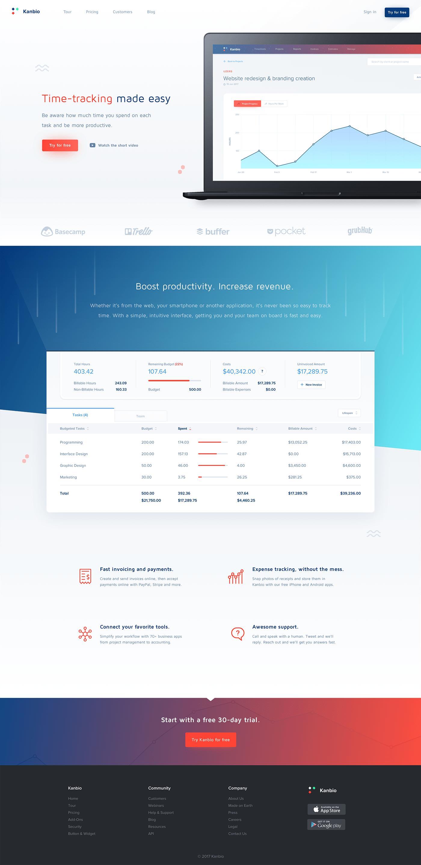 Kanbio Landing Page - Time tracking app made in clean and modern style