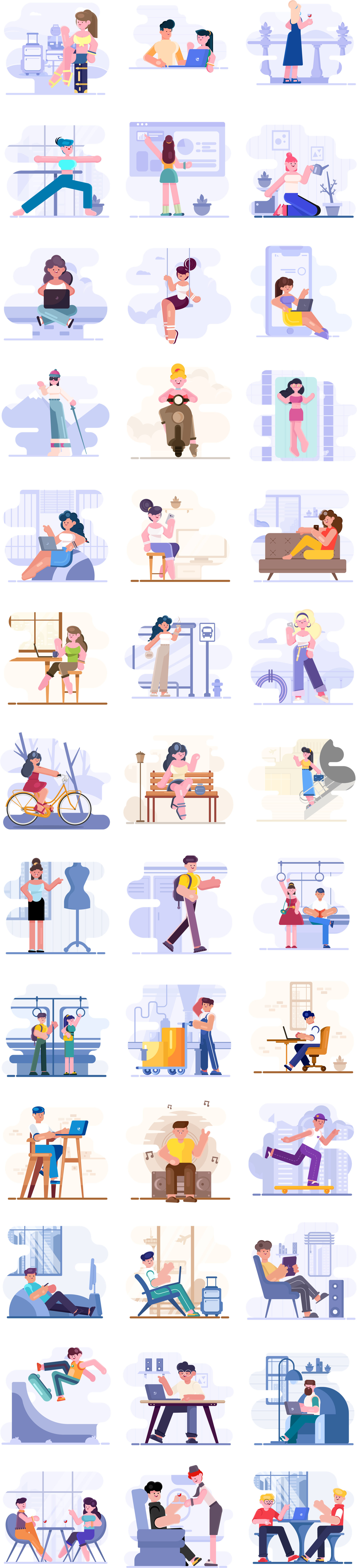 Loomies - 39 Free Illustrations - 39 free illustrations elements. Simplified cute characters illustrations for websites and application screens. If you're looking for cute cartoony characters to tell your stories, look no further than our newest character illustrations
