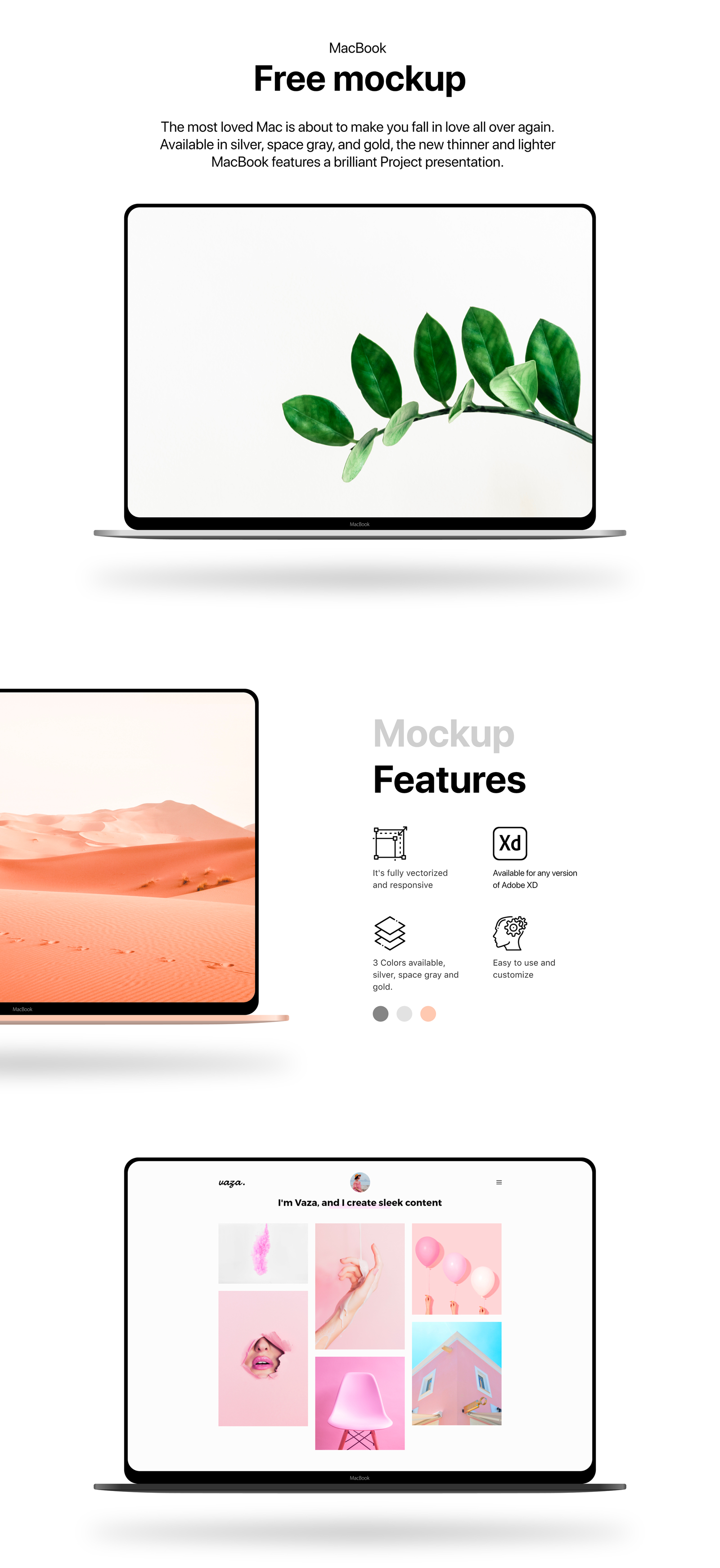 Macbook - Minimal Free Mockup - The most loved Mac is about to make you fall in love all over again. Available in silver, space gray, and gold, the new thinner and lighter MacBook features a brilliant Project presentation.