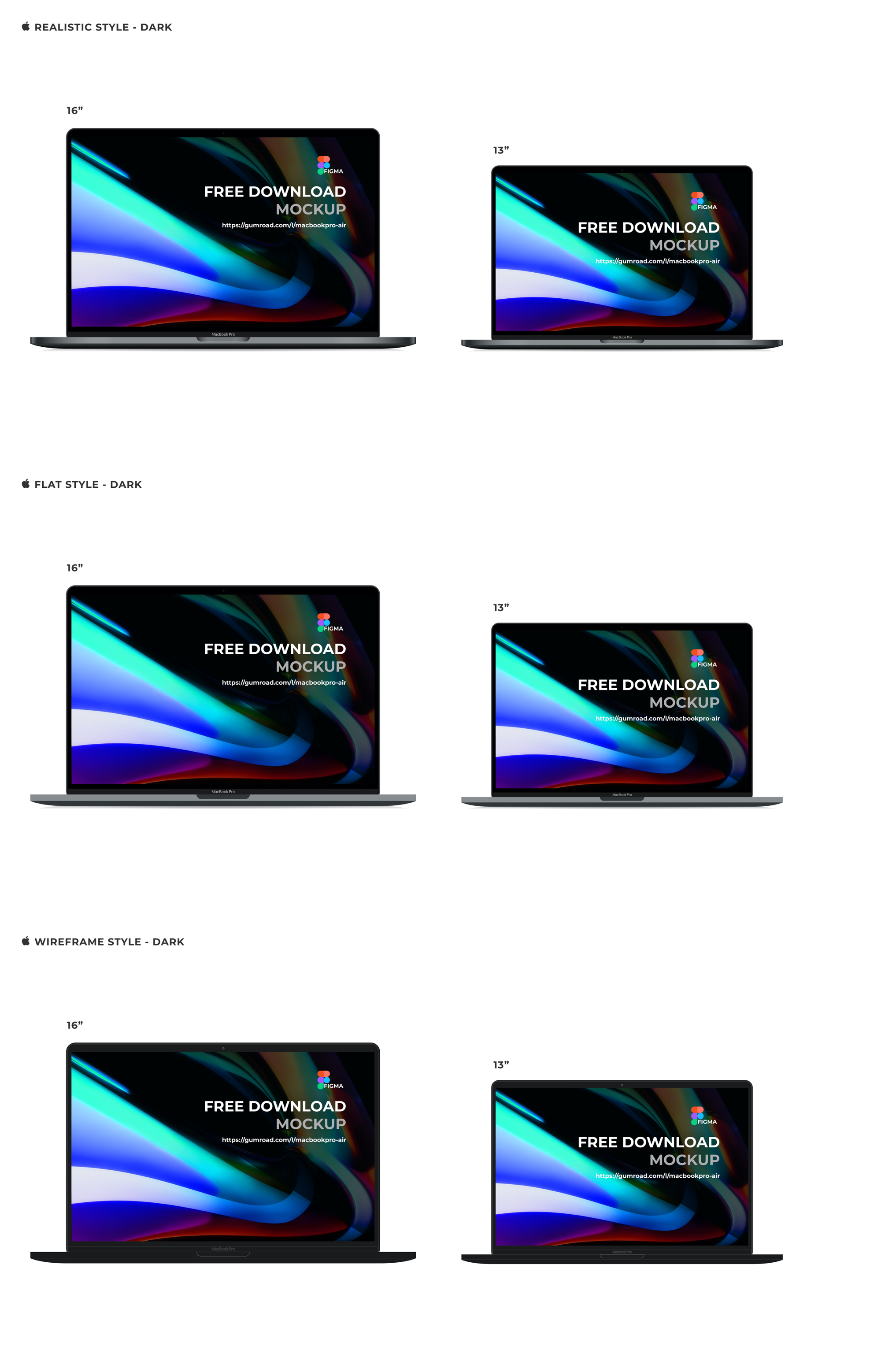 """MacBook Pro 16"""" & Air 13"""" Free Mockup - A great UI/UX solution needs a great presentation! I hope this will help you to design and present your UI design is a quicker, elegant, and realistic way."""