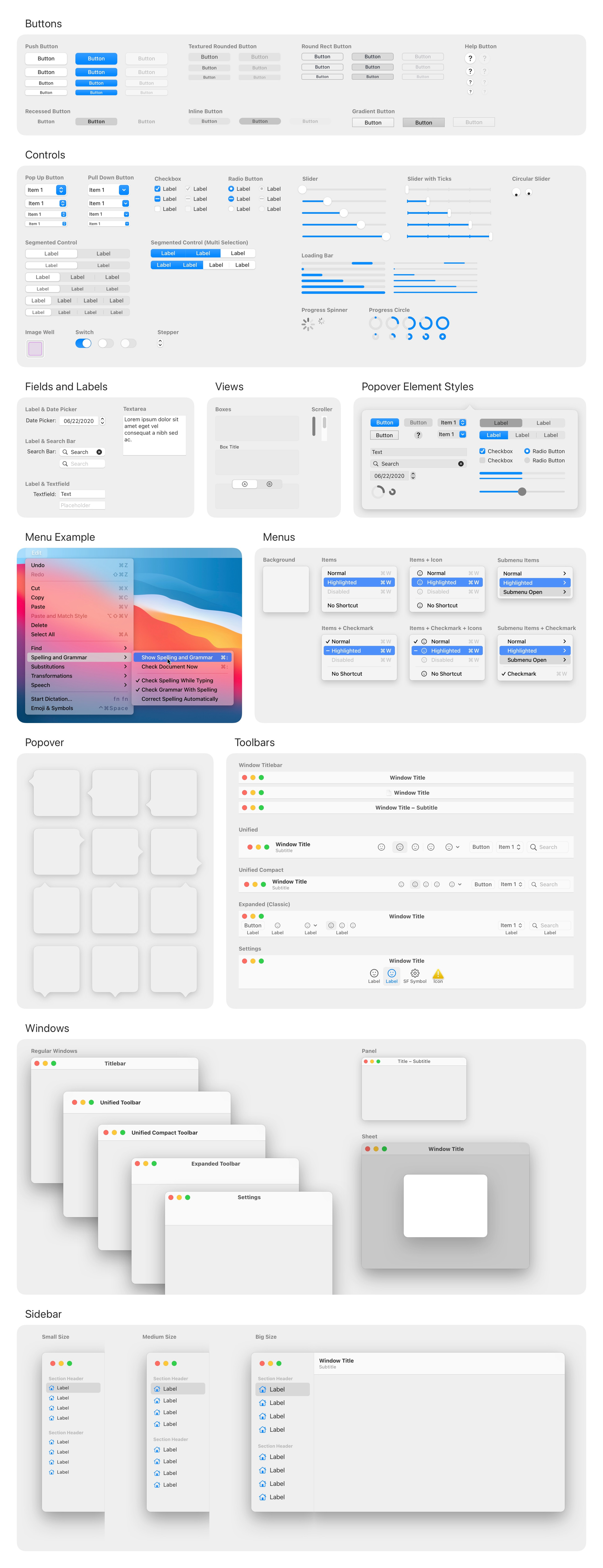 macOS 11 Big Sur Free UI Kit for Sketch - Get the incredibly detailed and most accurate macOS UI Kit for Sketch. The library is loaded with hundreds of components, colors, and text styles. Arguably the fastest way to get started with your Mac app designs.