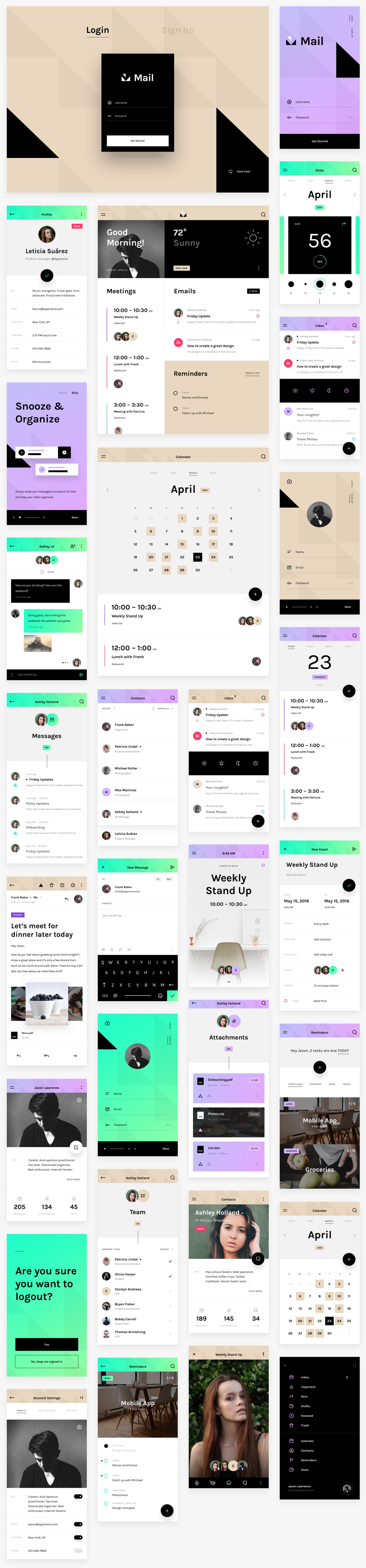 Mail - A free cross-platform UI kit - Tailor-made for desktop, mobile, tablet, and smartwatch formats, so your design looks its best on any device.
