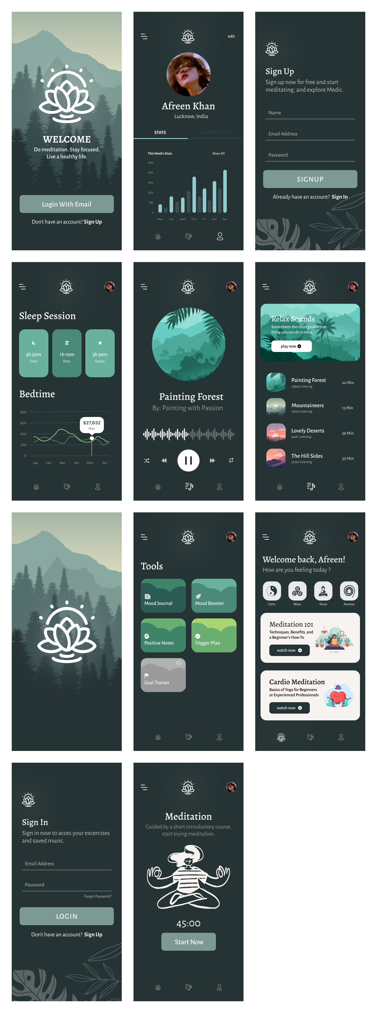 Medic Free Meditation App for Figma - Minimal and clean meditation app design, 11 screens for you to get started.