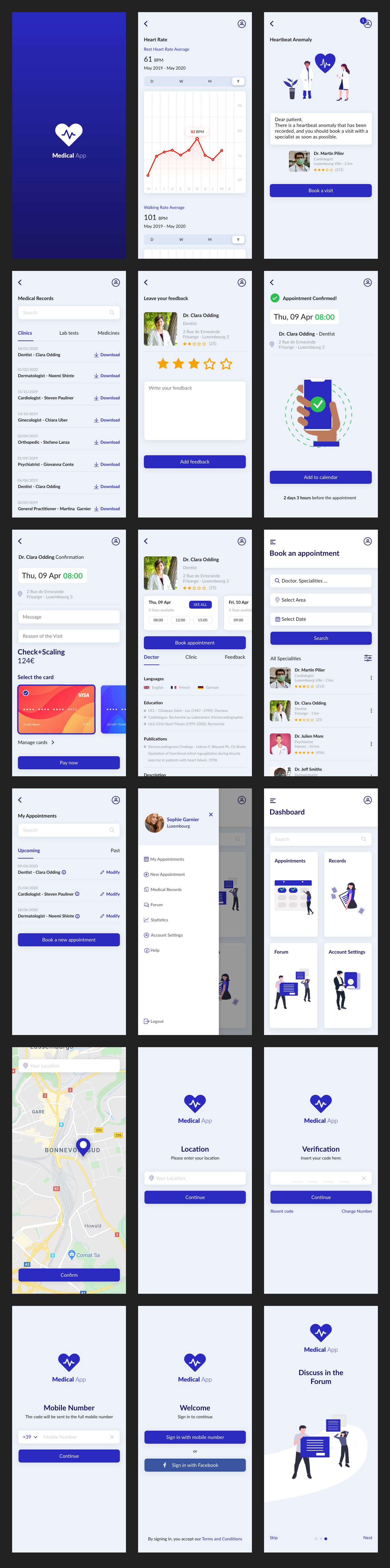 Medica App for Adobe XD - Minimal and clean app design, 18 screens for you to get started.