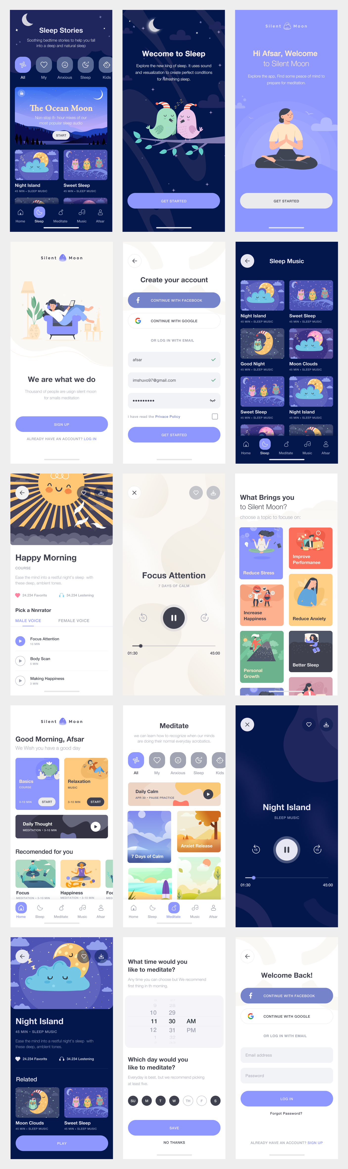 Meditation Free App UI Kit for Figma - Meditation helps you to recover your original, true mind. This grows the inner power. There are thousands of benefits from making your mind healthy. We are working on a great meditation app where you can meditate properly in a very comfortable way. Minimal and clean app design, 15+ screens for you to get started.