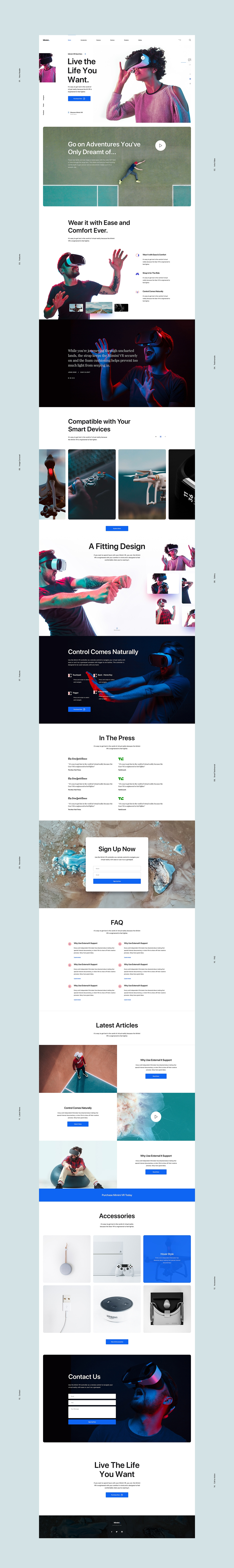 Mimini Free Landing Page - 14 sections are included in design. The artboard is fully editable, layered, carefully organized