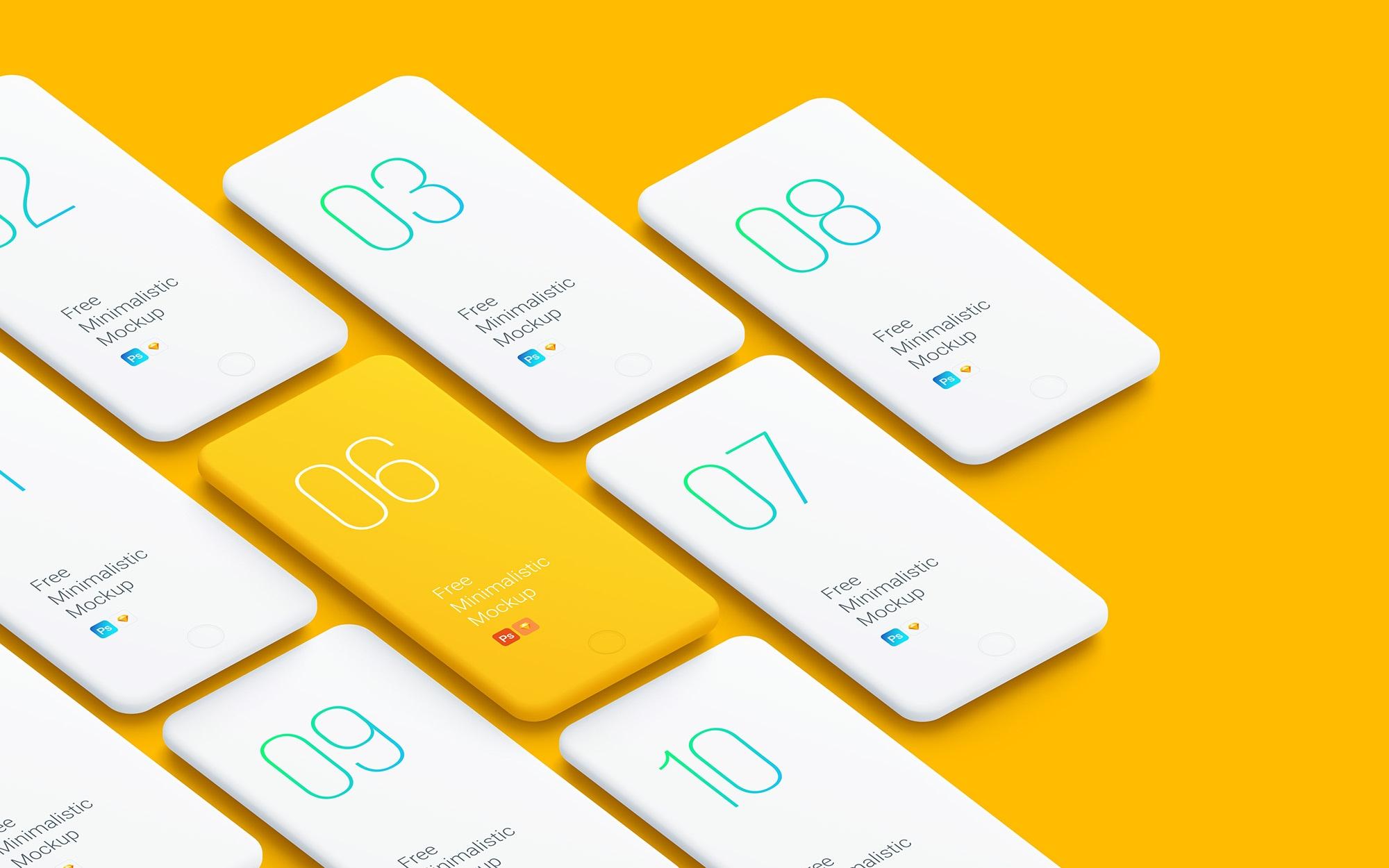 Minimalistic Smartphones Mockups - Free minimalistic mockups of smartphones for you – so you can showcase your app and web designs.