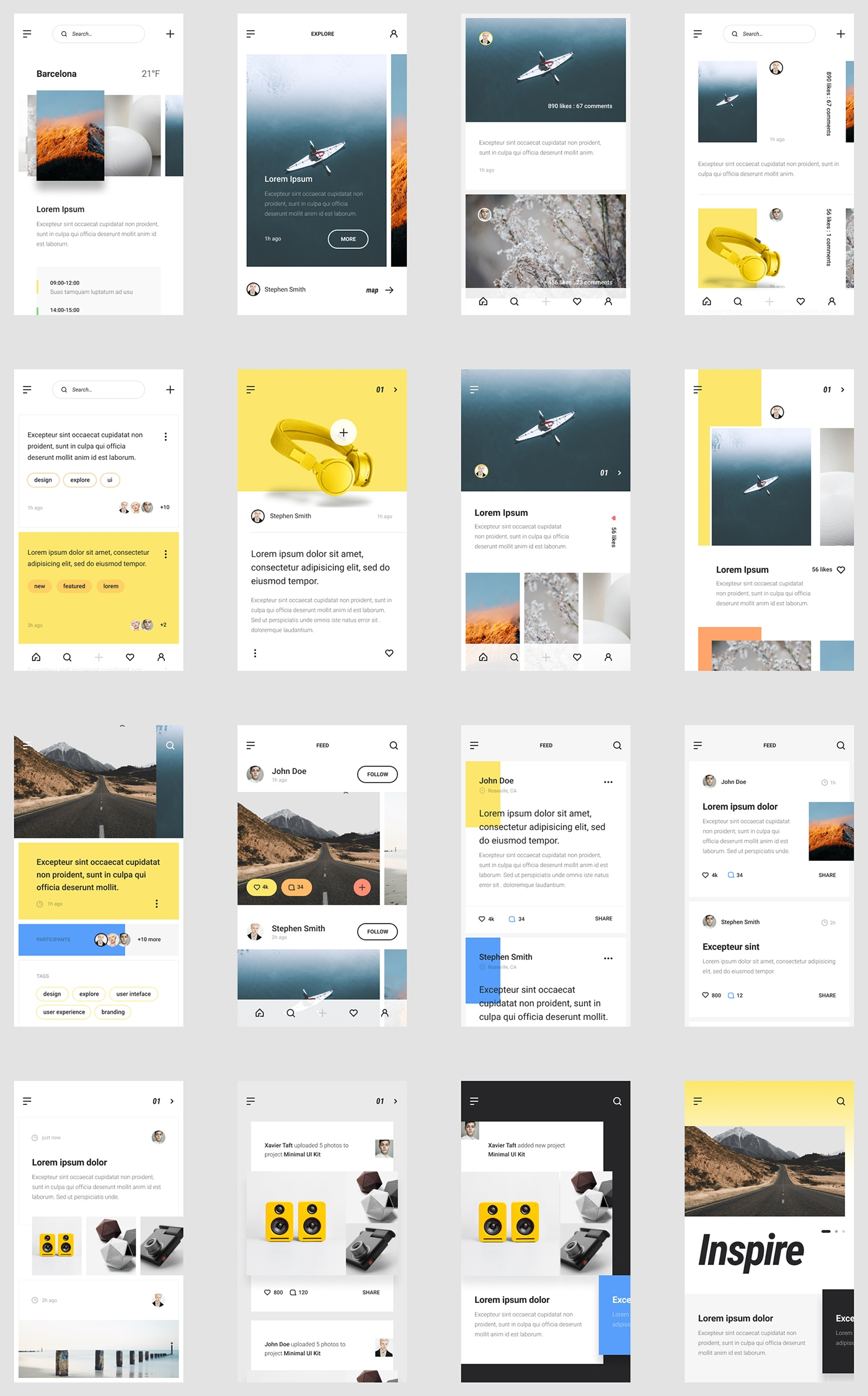 MNML iOS UI Kit - Multi-purpose iOS UI Kit for Sketch, Figma, PS & Adobe XD. Designed by UI8.net