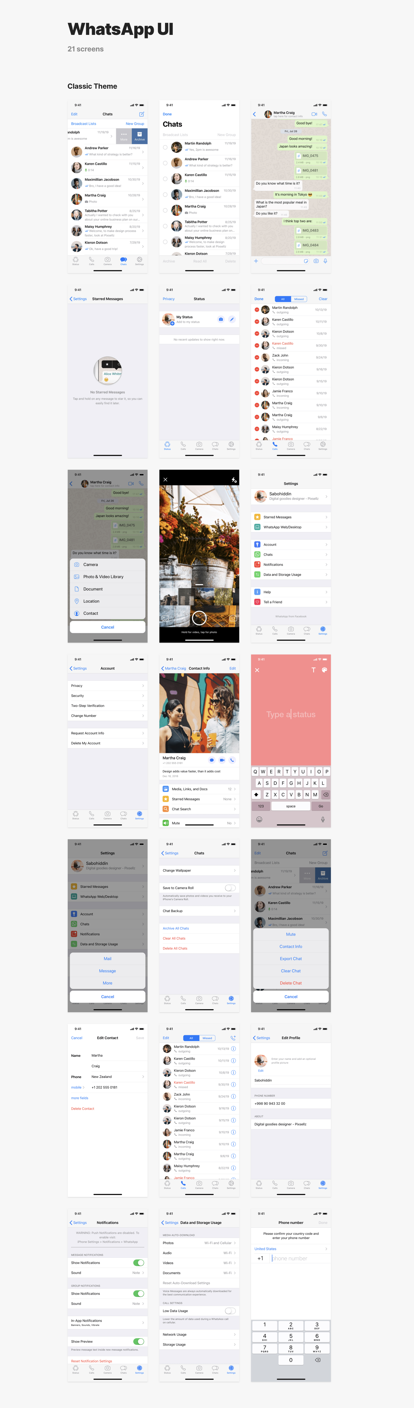 Mobile Apps Library for Sketch & Figma - 120+ reconstructed screens of popular mobile apps: Instagram, Telegram, Messenger, WhatsApp. Compatible with Sketch App & Figma.