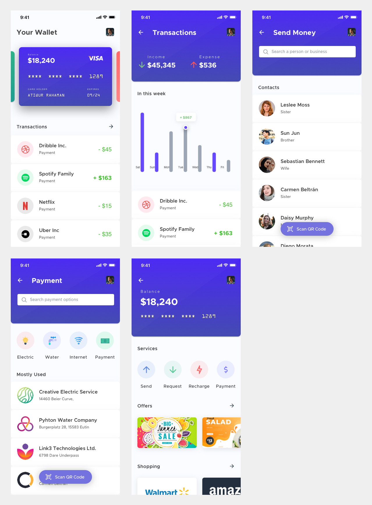 Mobile Wallet App for Sketch - Minimal and clean wallet app design, 5 screens for you to get started.