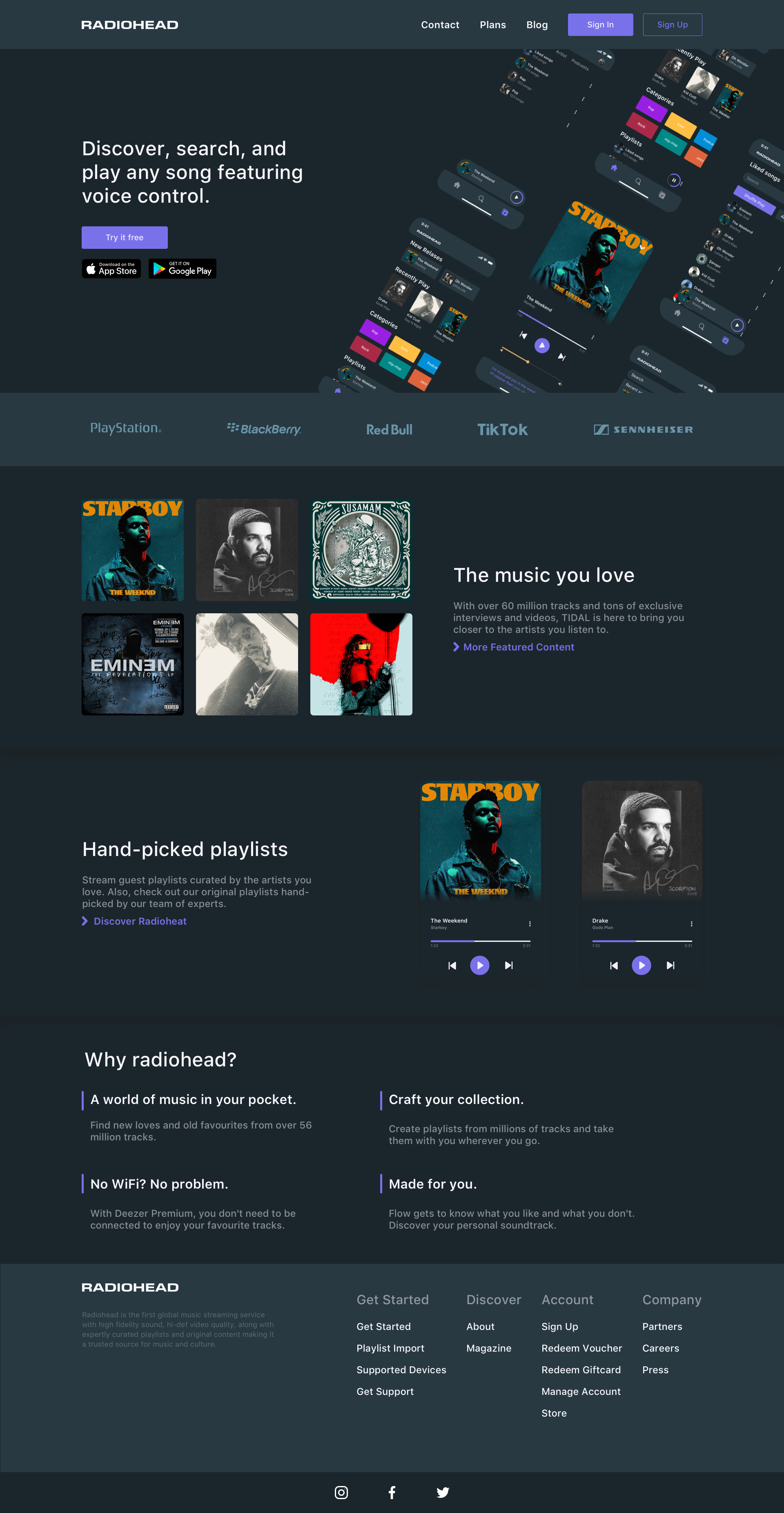 Music App Landing Page for Sketch - Elegant and clean template for any kind of music app.