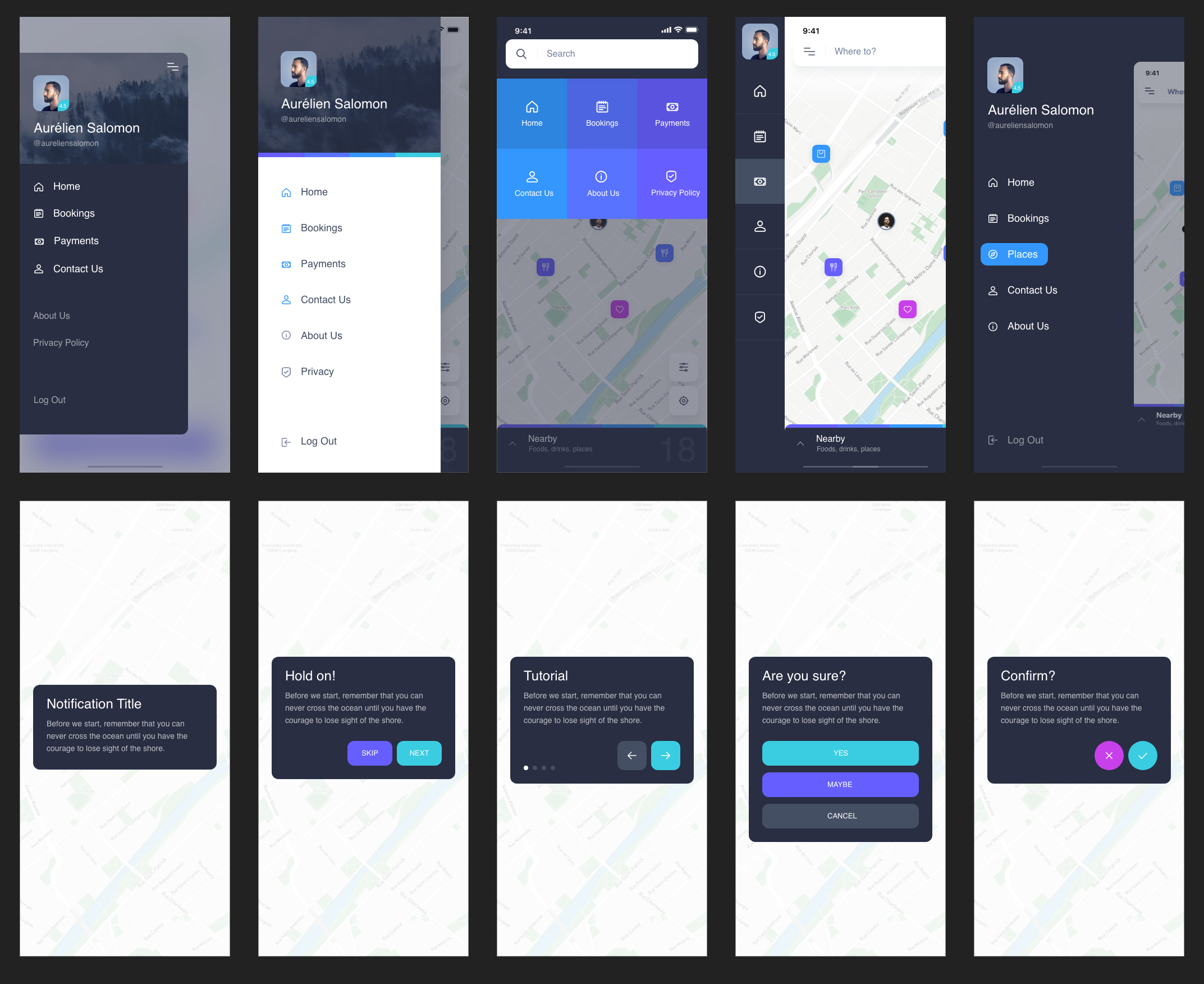Navigo UI Kit for Adobe XD - Navigo is a free iOS UI Kit made for Adobe XD. It includes more than 60 screens organized in 6 categories and designed with a modern and colorful style.