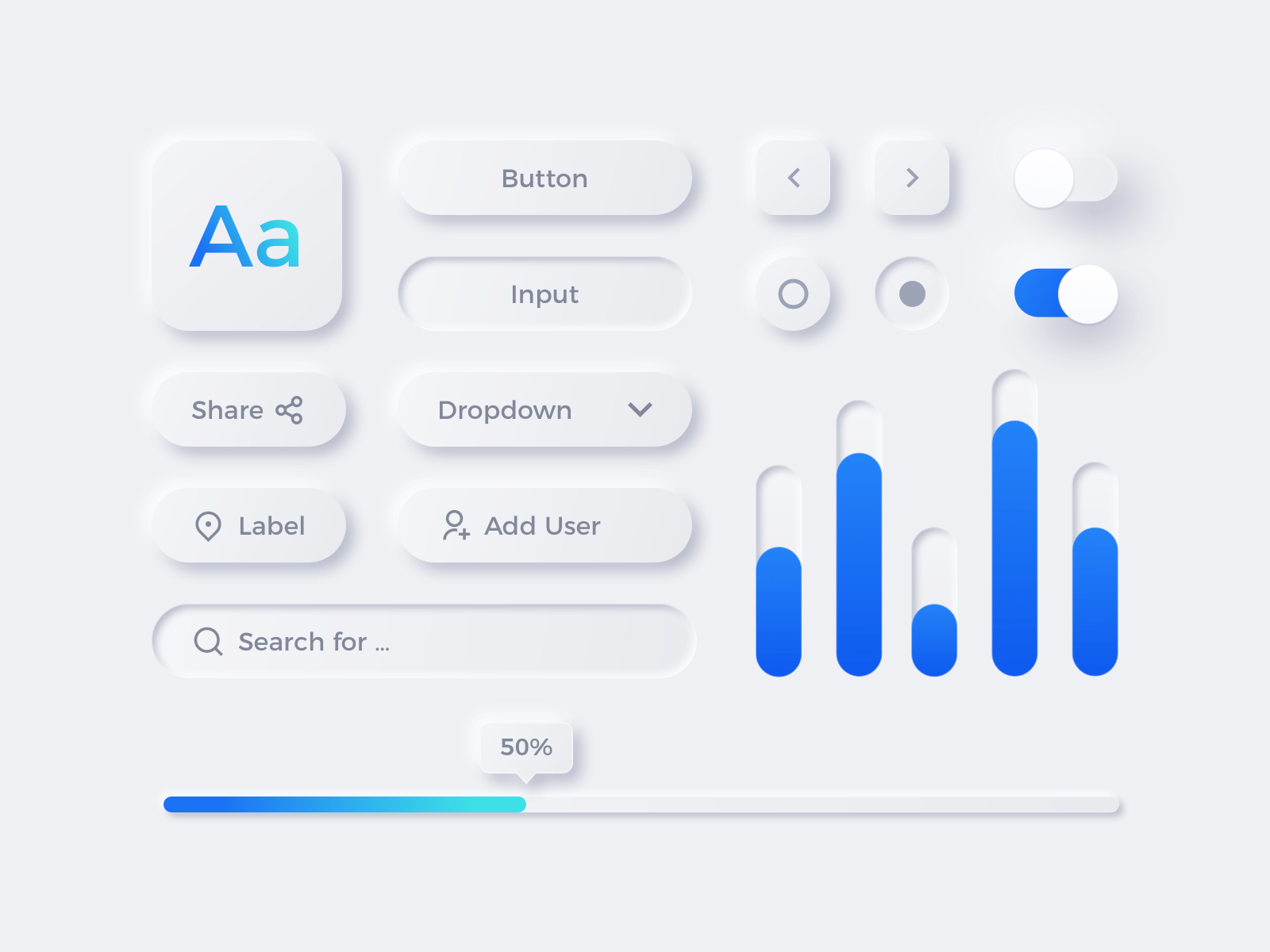 Neumorphism UI Elements for Sketch - Elegant and clean UI Kit for any kind of app.