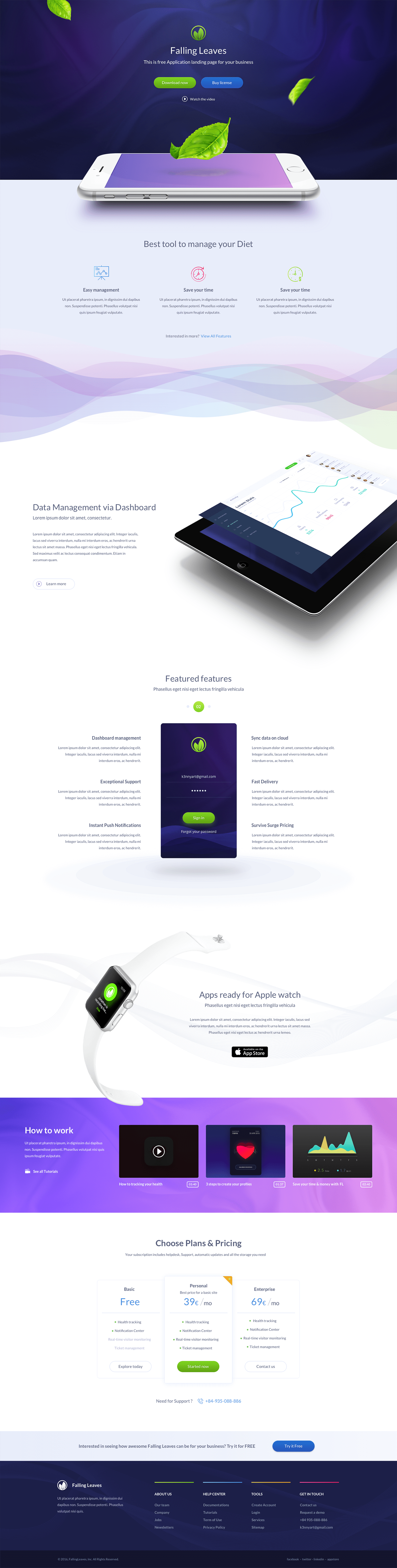 One Page App Landing Page - Inspired by the mobile trends and trying to solve the problem of most startups with simple & information featured one page app landing.