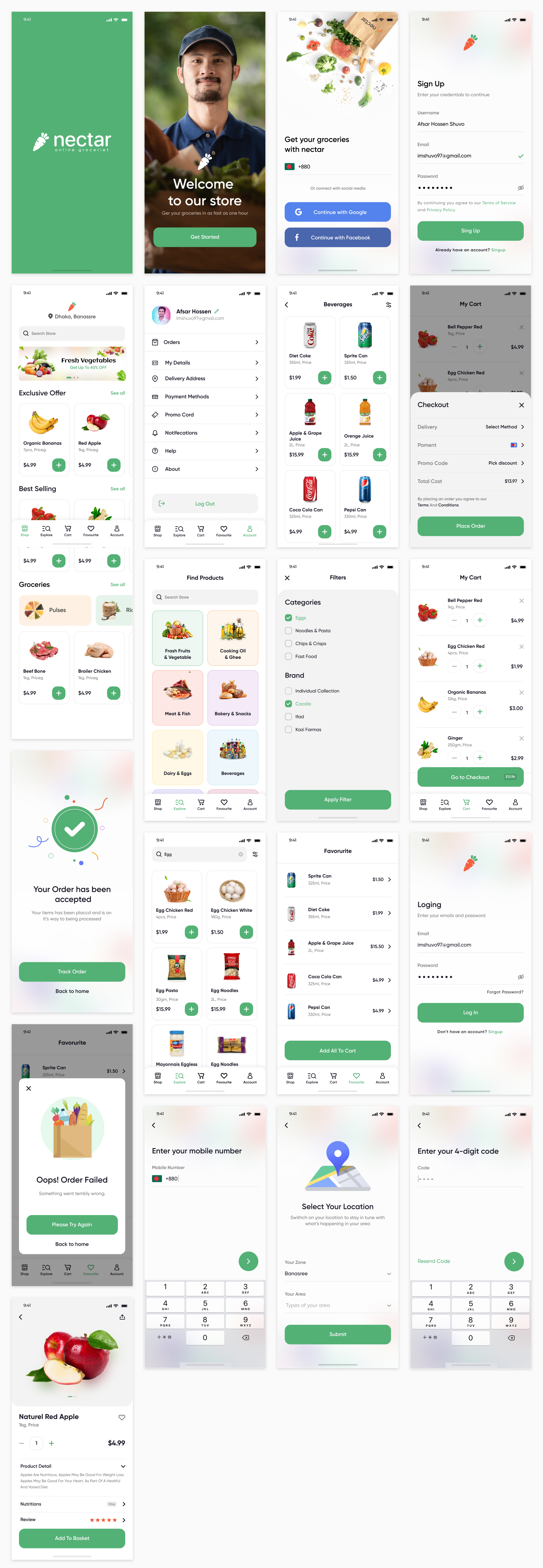 Online Groceries Free App UI Kit - Minimal and clean groceries app design, 20 screens for you to get started.