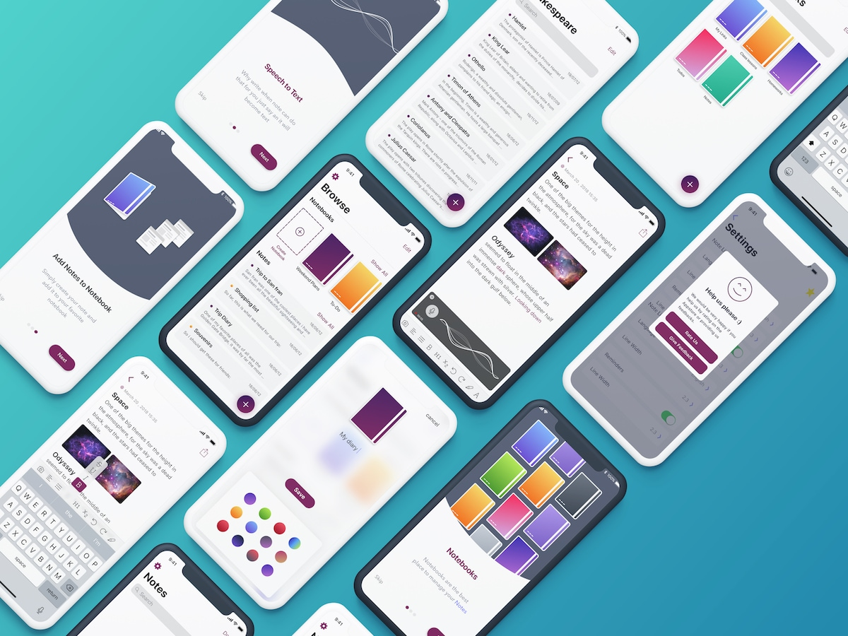 Penman App UI Kit - Penman is an iOS notes app with the power of Speech To Text