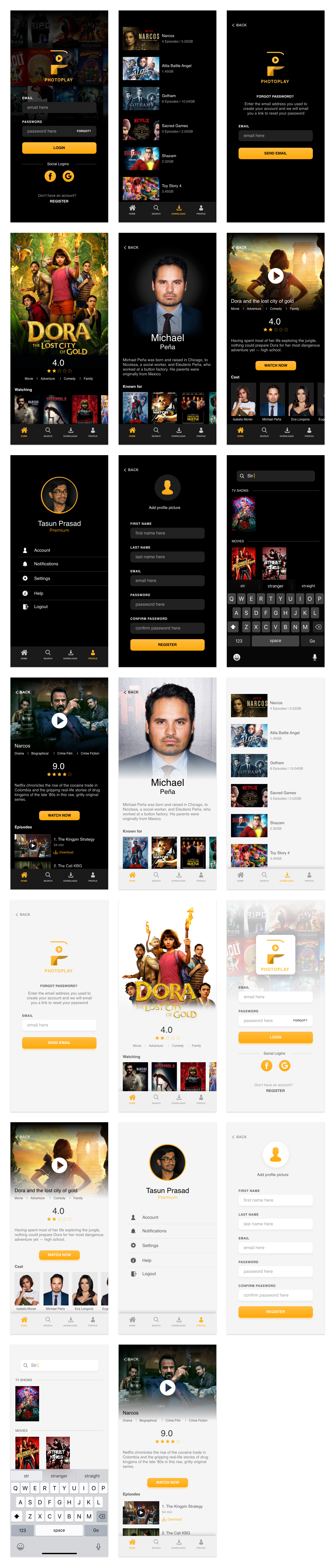 Photoplay Free UI Kit for Adobe XD - A movie and TV Show streaming mobile UI Kit. Minimal and clean app design, 20 screens for you to get started.