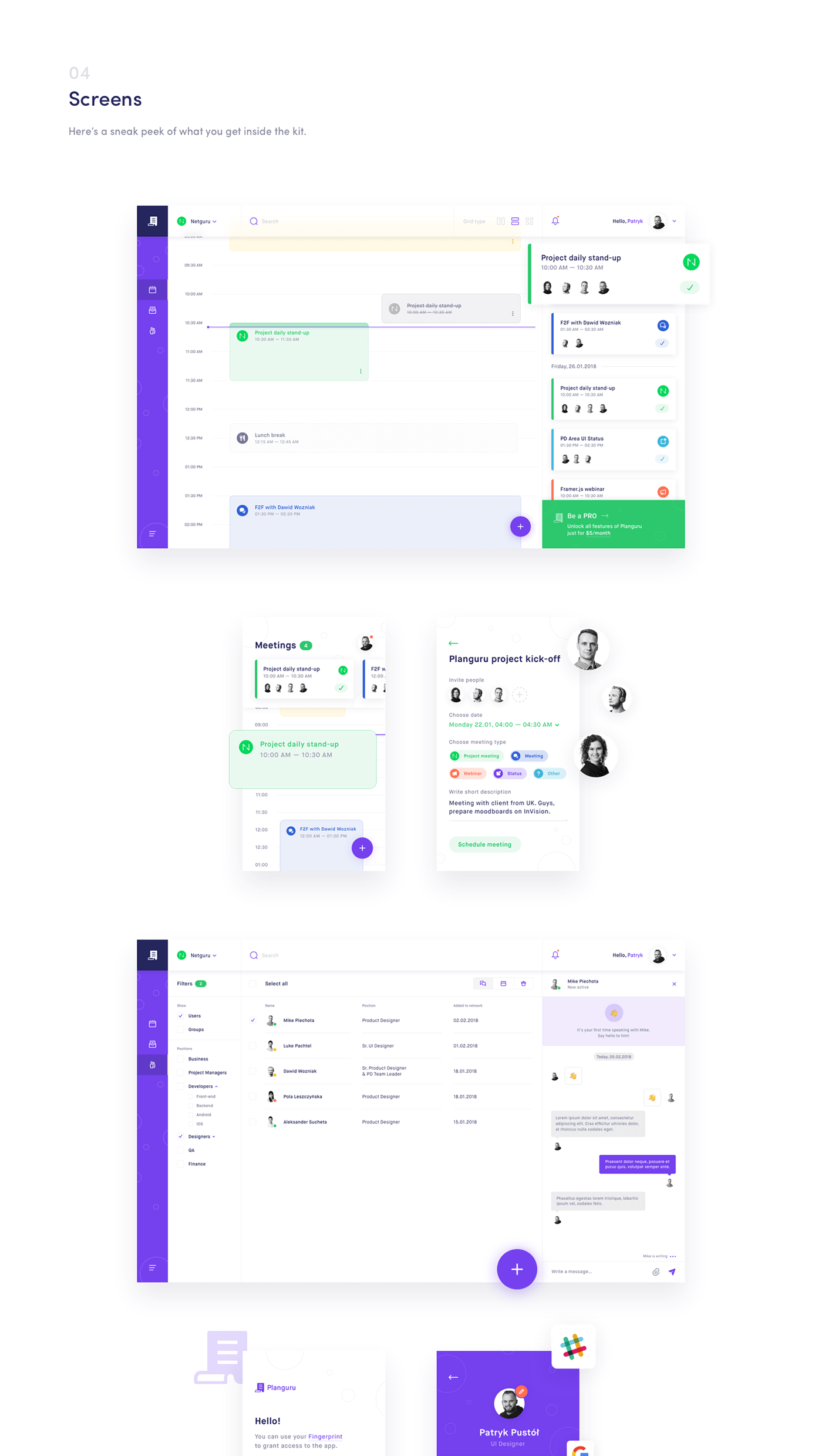 Planguru Free UI Kit - 18 beautiful screens designed in Sketch, ready for use in personal and professional projects