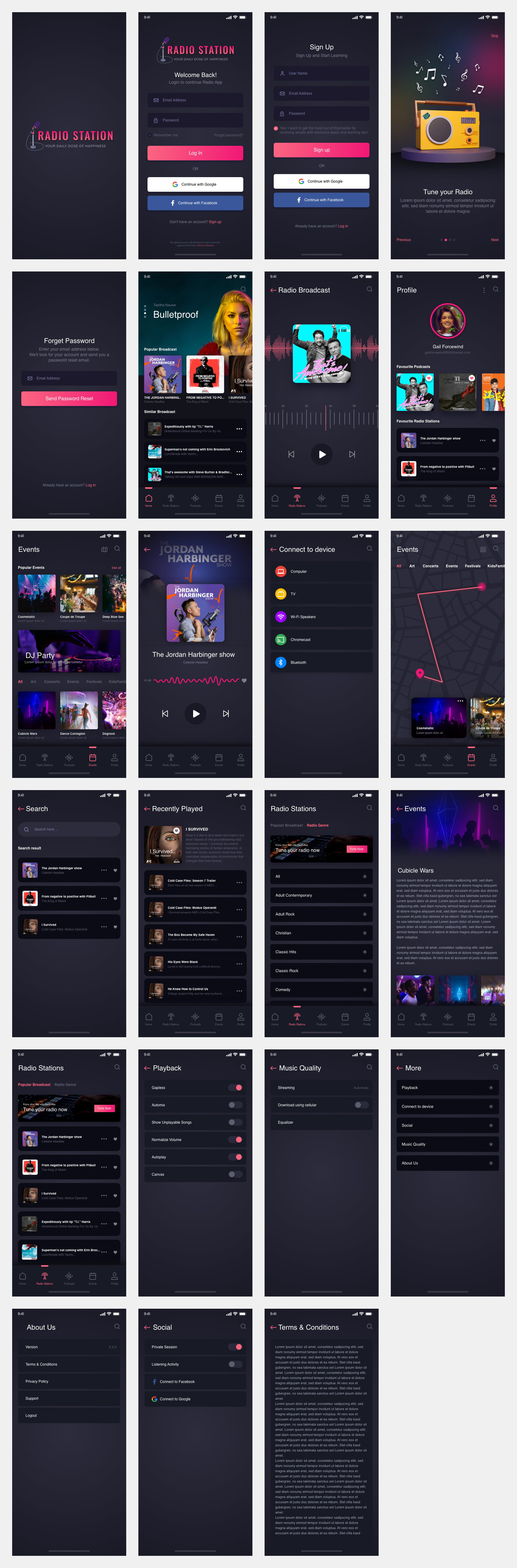 Podcast App Free UI Kit for Adobe XD - The Podcast is a free UI kit consist of 23 radio app screens which can help you to boost your design process. Easy to customize to fit your style. Also, this is a clean & minimal UI kit for mobile with a dark mode style.