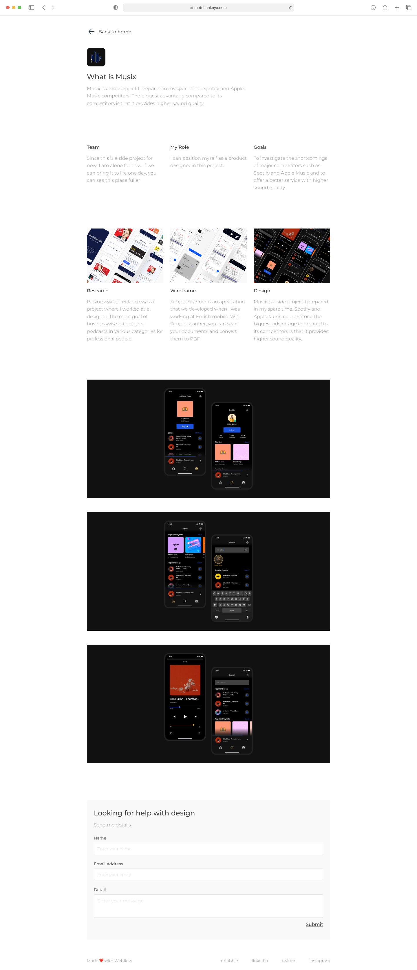 Portfolio Free Template for Figma - Clean and clear UI Kit with necessary stuff to create a new portfolio. It features 8 screen pages (Desktop + Mobile) to get you started on your projects.