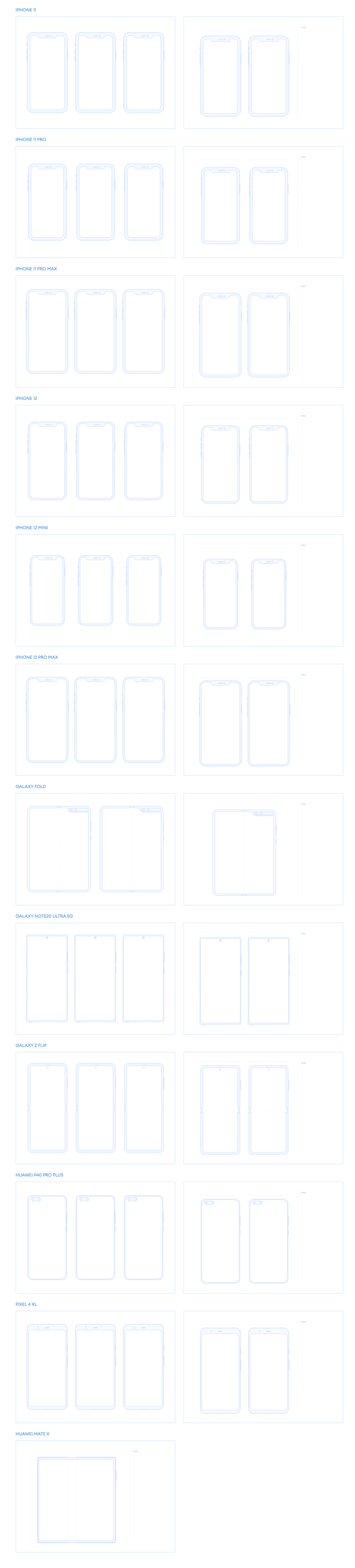 Printables Free Template for Figma - Free printable templates for your mobile sketching. Start creating your app with a clean mind and representation of a screen structure. There are 12 devices in the pack, for both iPhone and Android, so you can display on multiple devices.