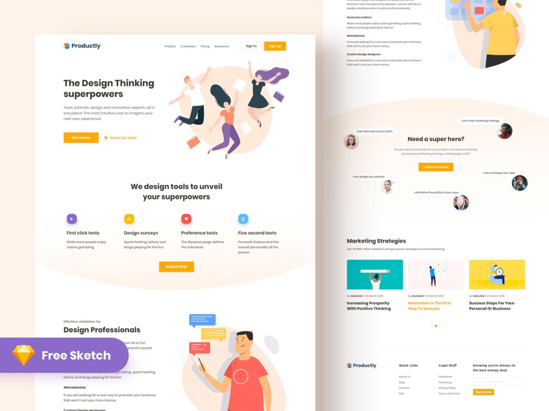 Productly Free Landing Page For Sketch Uistore Design