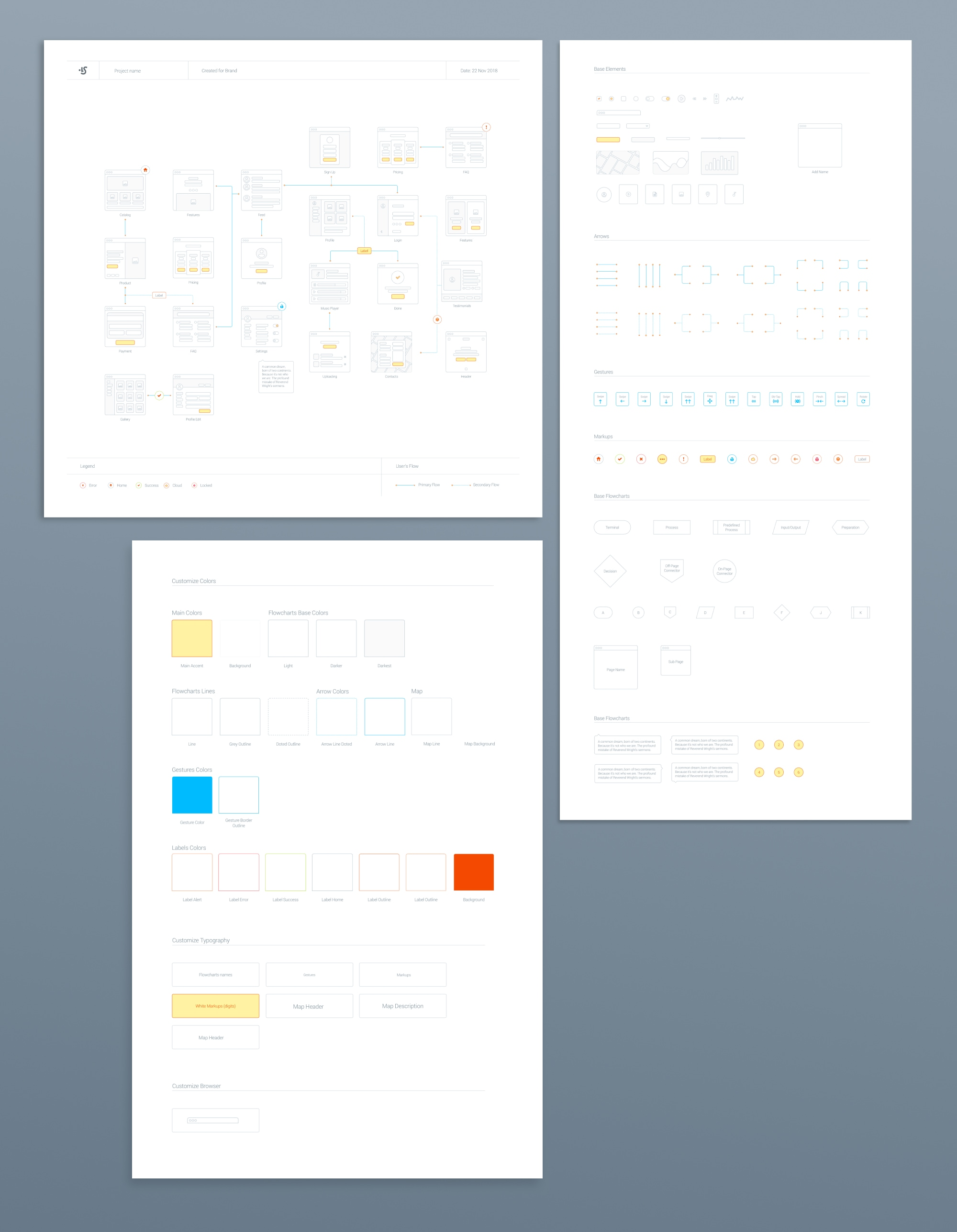 Wireframe Prototyping System - Plan your project navigation with these beautiful maps. For your mobile and web projects.