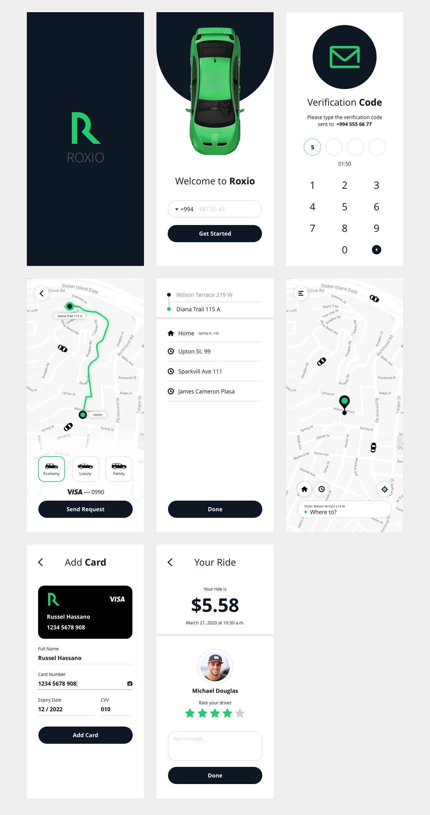 Roxio - Free Taxi App for Adobe Xd - Minimal and clean app design, 8 screens for you to get started. #MadeWithAdobeXD