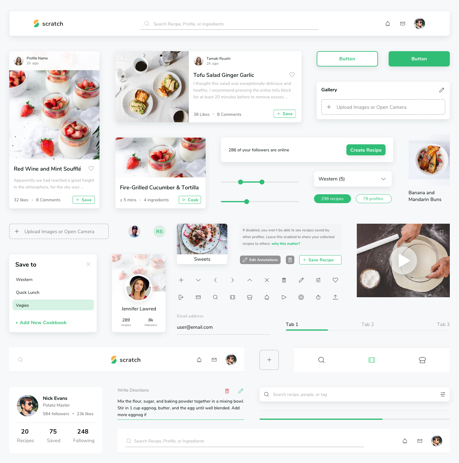 Scratch Recipe UI Kit - The Scratch UI Kit has all you need to build a recipe book that would make your Grandma jealous. Browse, collect, edit, and share recipes with your network, find what's trending, then take the app into the kitchen.