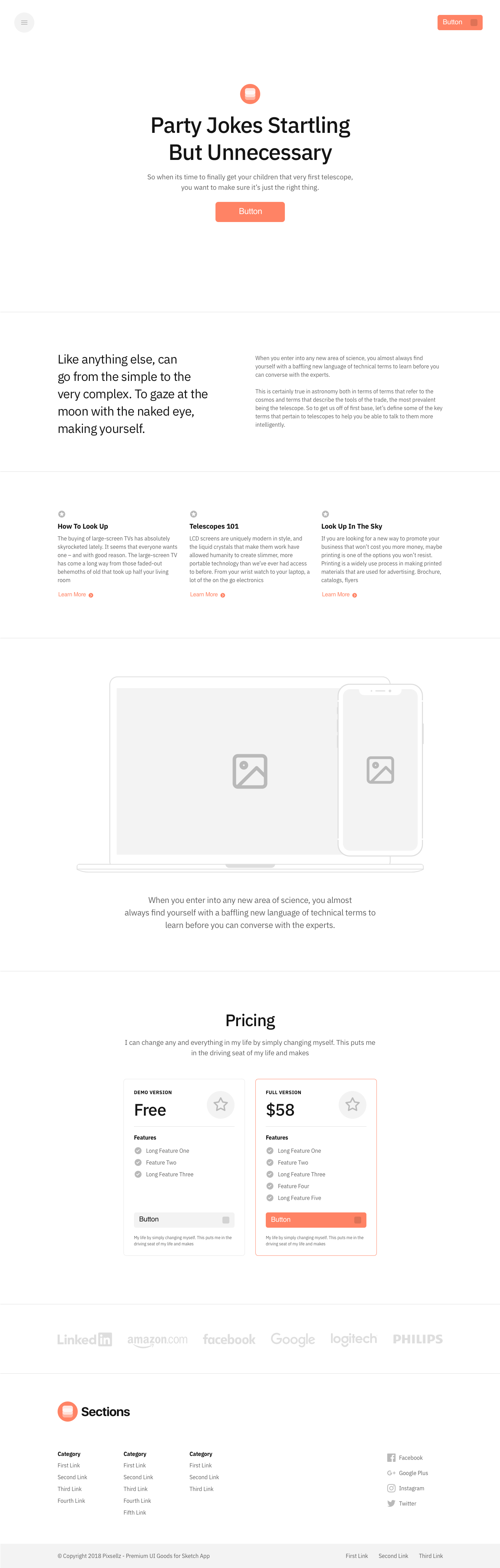 Sections - Landing Pages Wireframe Kit - Sections is made up of a large set of screens consisting of popular categories. This web UX screens will help you quickly create a prototype for web services.
