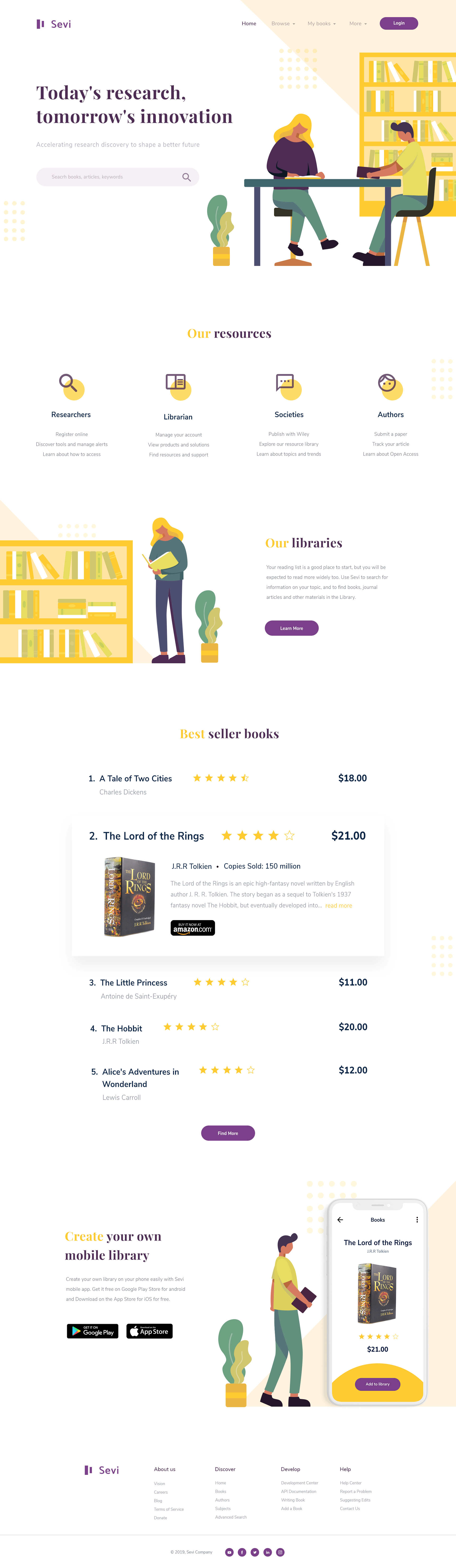 Sevi - Online Library Landing Page - A homepage design for book shop / digital library provided in layered PSD file.
