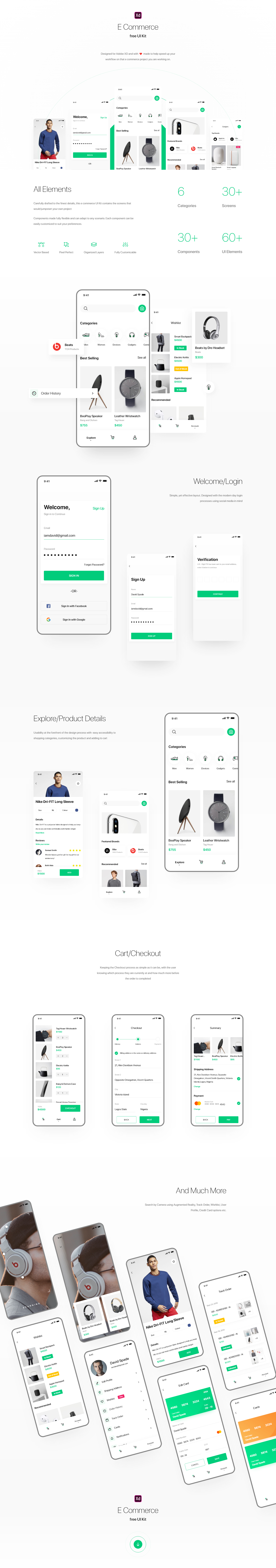 Shopping UI Kit for Adobe XD - Minimal and clean shopping app design, 30+ screens for you to get started. Each element is fully vector based, with pixel-perfect construction, well organized in layers, and made fully flexible so that it can be adapted to any projects.
