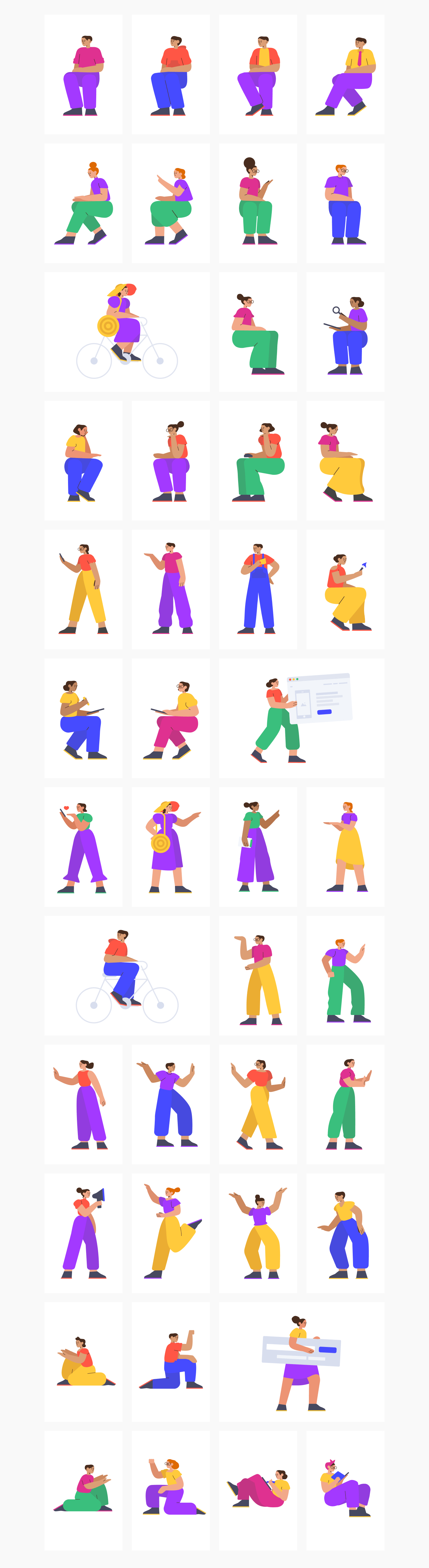 Smash Illustrations - Awesome illustration constructor with colorfuland trendy characters. Create unique illustrations with 45 characters & 200 background objects.