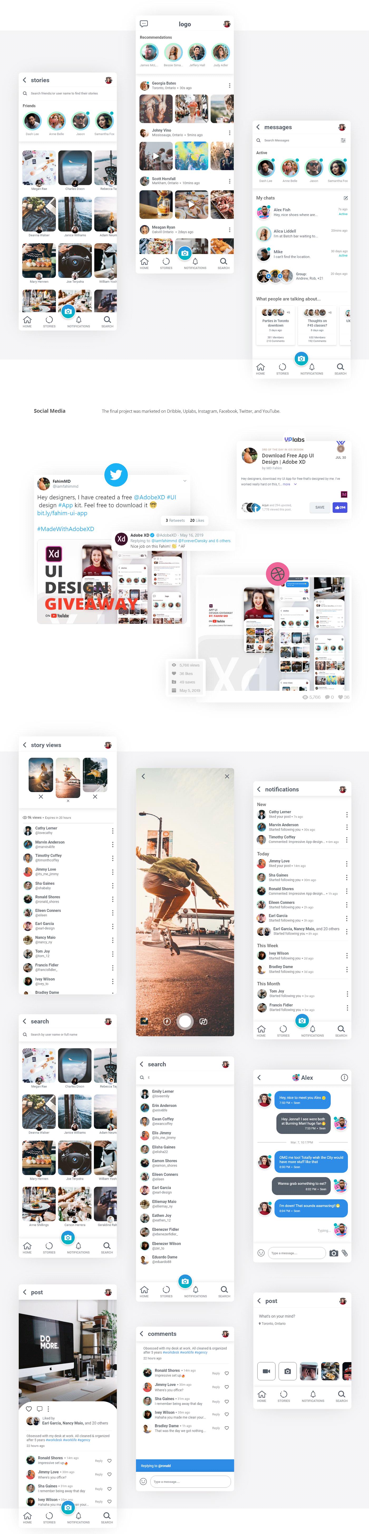 Social Free UI Kit - Elegant and clean App design.