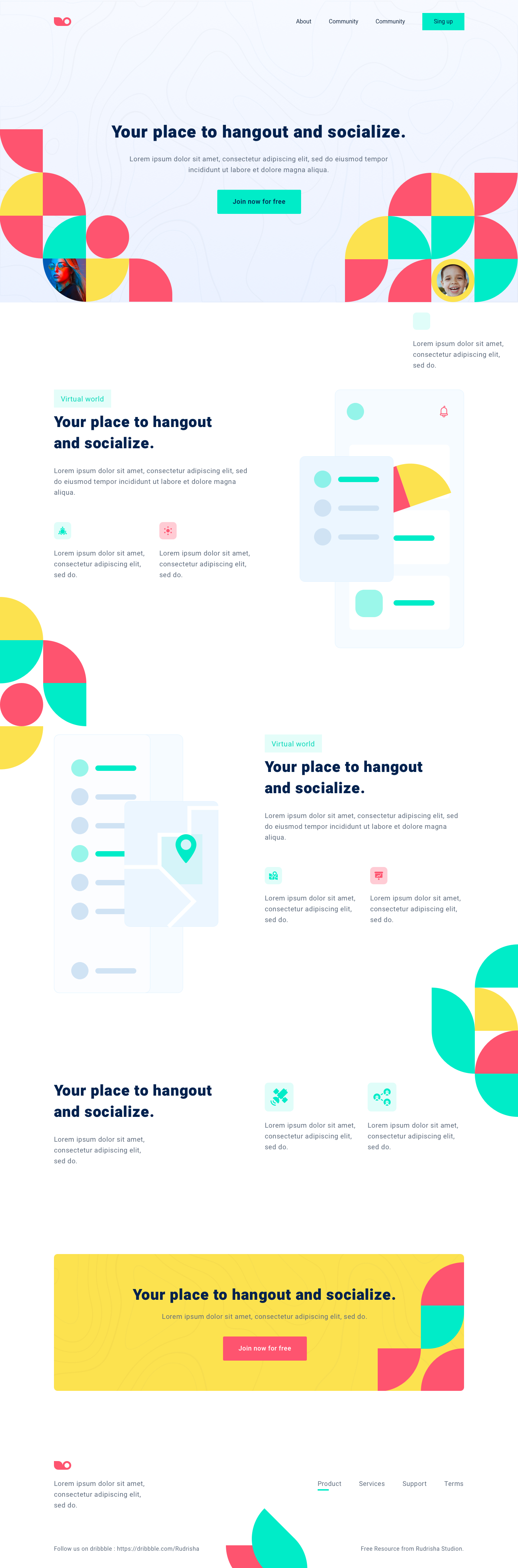 Social Meetup Landing Page for Sketch - Minimal and clean landing page design, great for you to get started a new project.