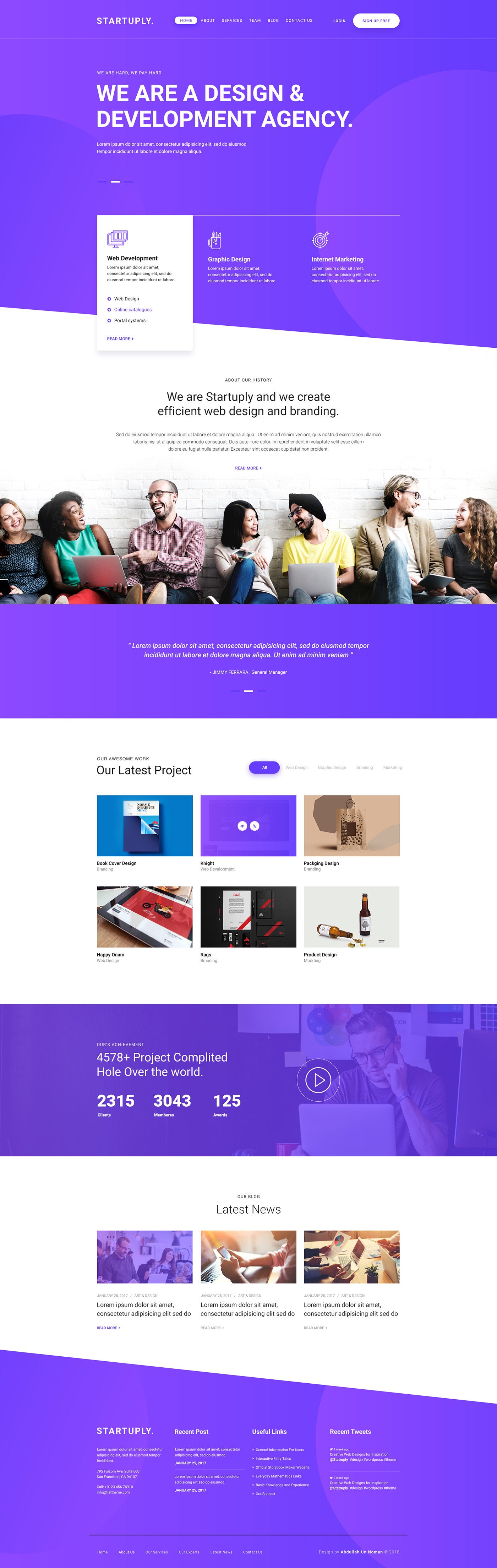 Startuply Agency Landing Page - Clean and beautiful landing page, designed by Abdullah Un Noman