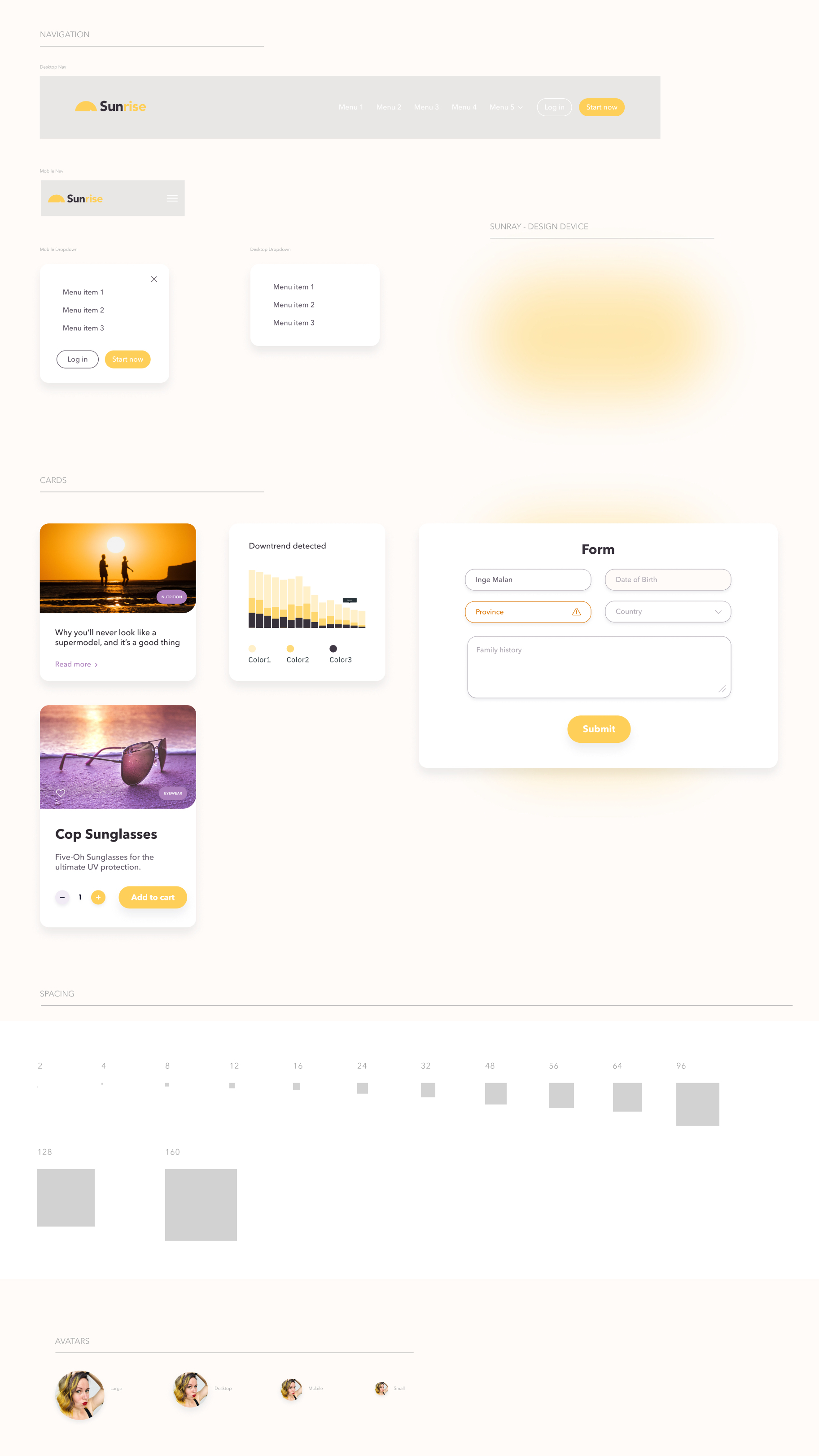 Sunrise Free Design System - ☀️Sunrise is a Design System oriented for Web (Desktop & Mobile) usage I created. I kept things fairly simple as I believe it should have space to organically grow your component library specifically for your application. I decided to make ☀️Sunrise, open source and available to anyone who would like to use it or be inspired by it.