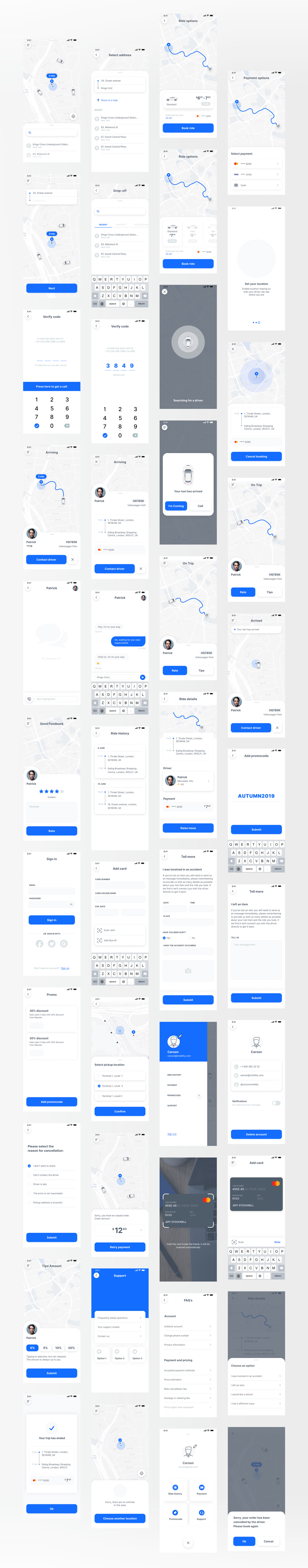 Taxi App UI Kit for Figma - 40+ Figma UI elements which covers the main flows of a taxi app. 13 car type icons.