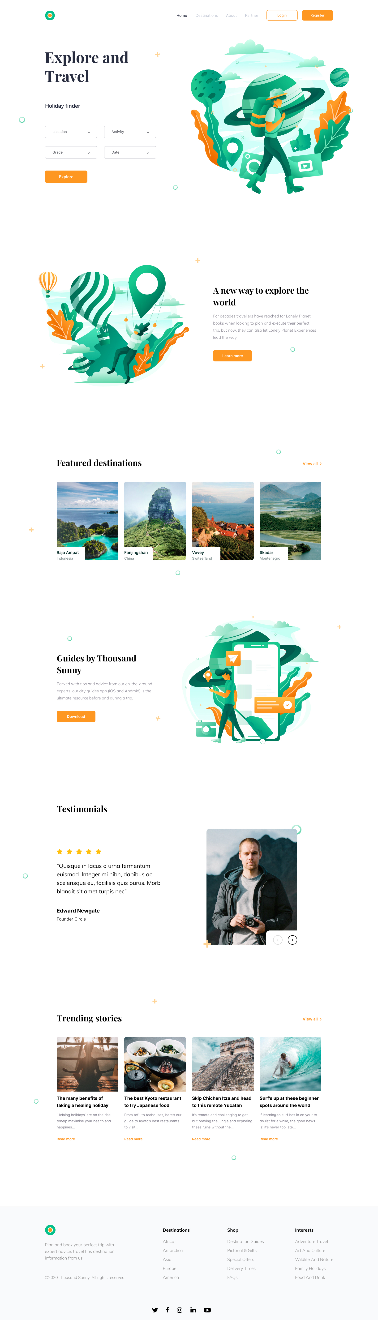 Tour and Travel Website for Figma - Elegant and clean landing page design for tour and travel project.