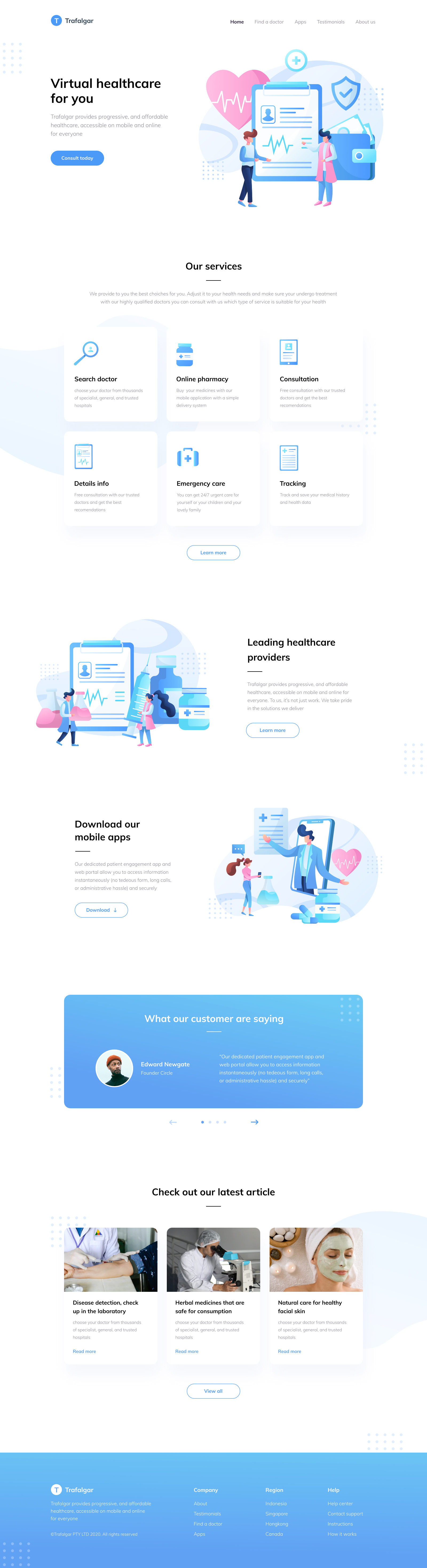 Trafalgar Landing Page for Figma - Trafalgar is a landing page for a one-stop healthcare solution. Elegant and clean landing page design for Figma.