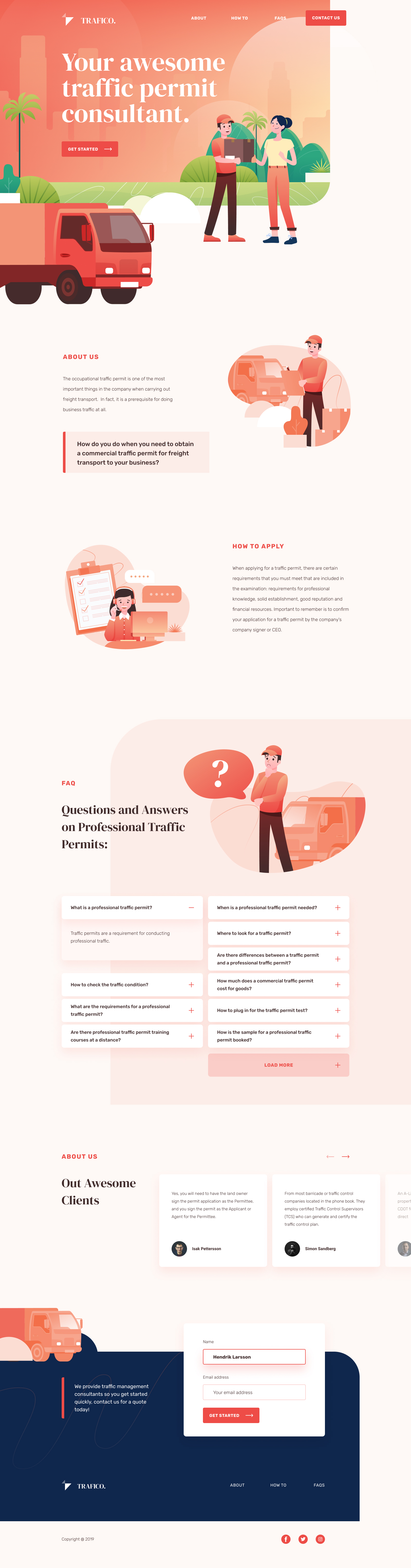 Traffico Landing Page for Figma - Elegant and clean landing page design with cool illustration.