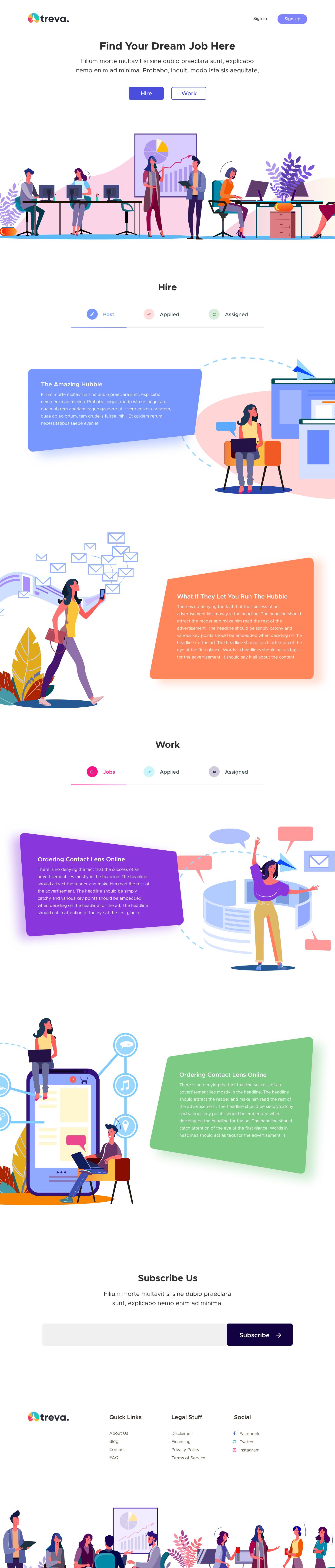 Treva - Job Hiring Landing Page for Sketch - Elegant and clean landing page design for job hiring platform.