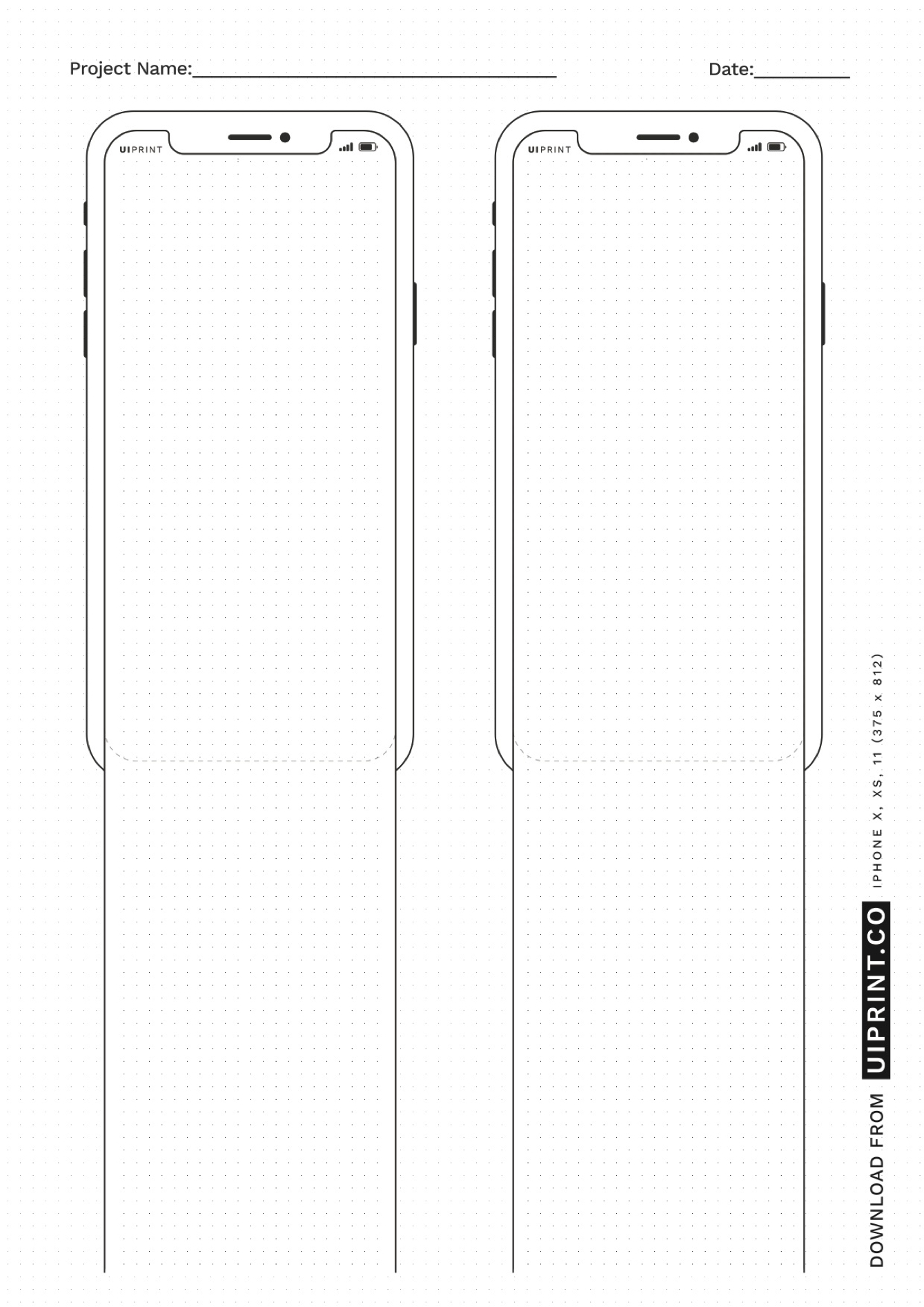 uiprint - Printable Mockups and Sketchpads - Collection of printable wireframe, mockup and dot grid sketchpad templates. All mobile mocks are mapped with original iPhone X, XS, 11Pro Screen size. You can download all templates in both A4 and Letter Size.