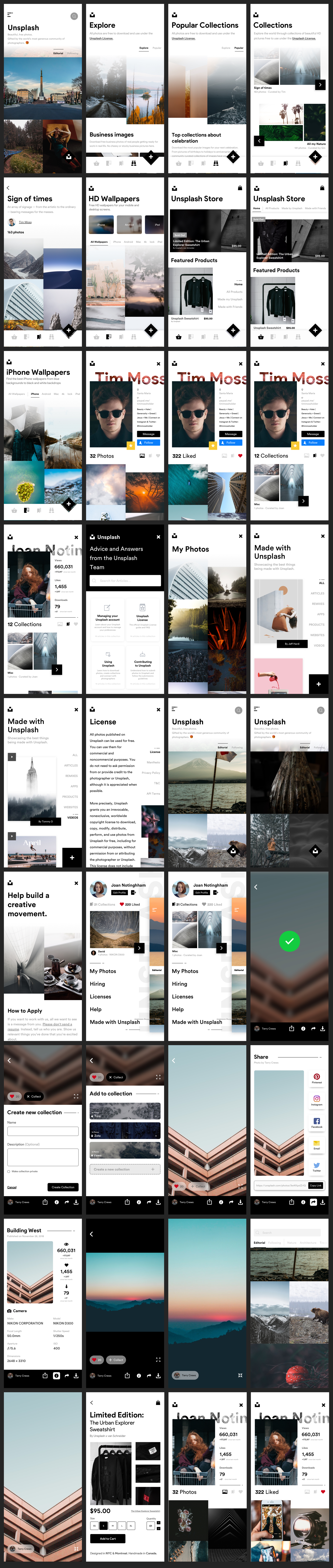 Unsplash UI Kit - Elegant and clean UI Kit for any kind of app. 35+ screens for you to get started.