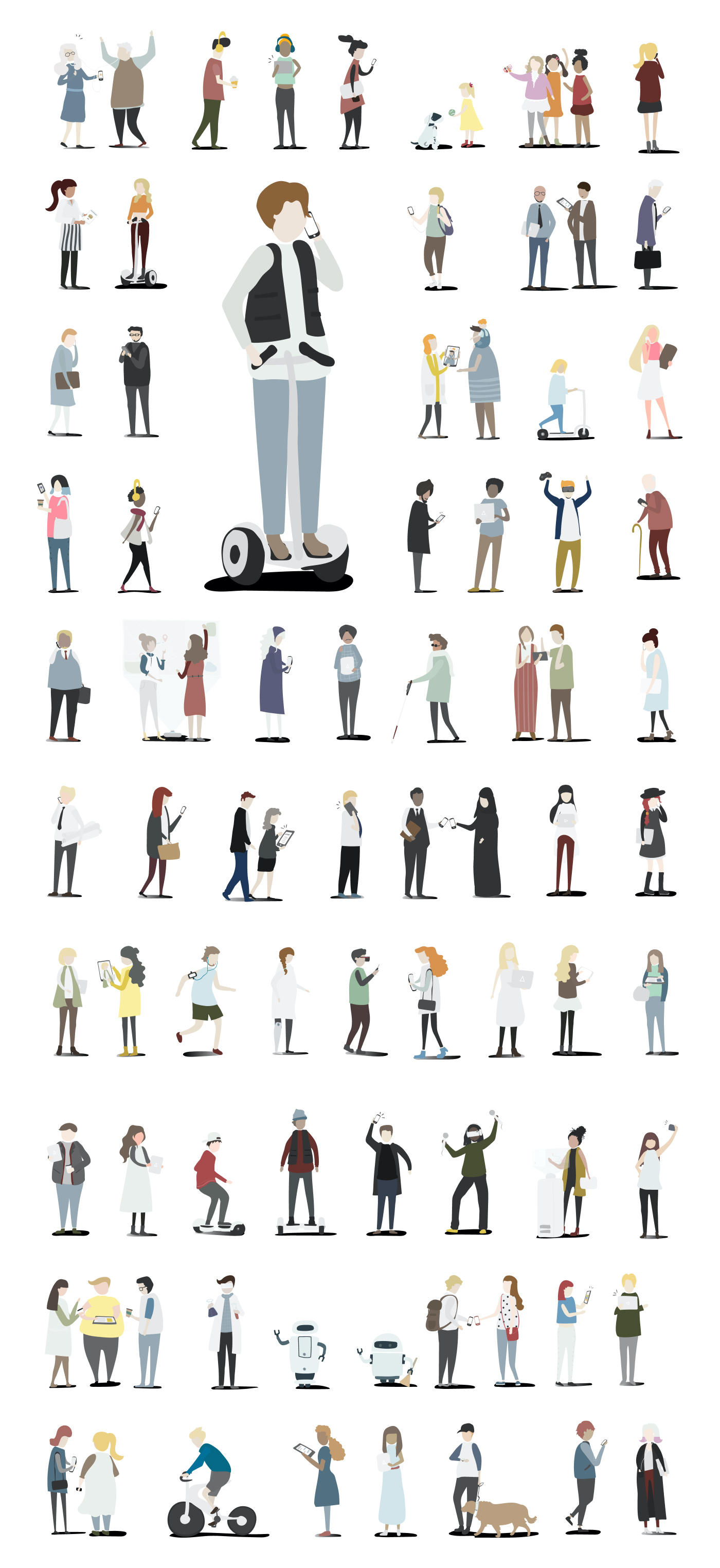Vector Character Illustrations - A good collection of 78 illustrations showing people in action - dancing, communicating, driving, taking selfies, etc. It's always good to have illustrations at hand and with this nice customizable resource, you can include these characters in various projects.