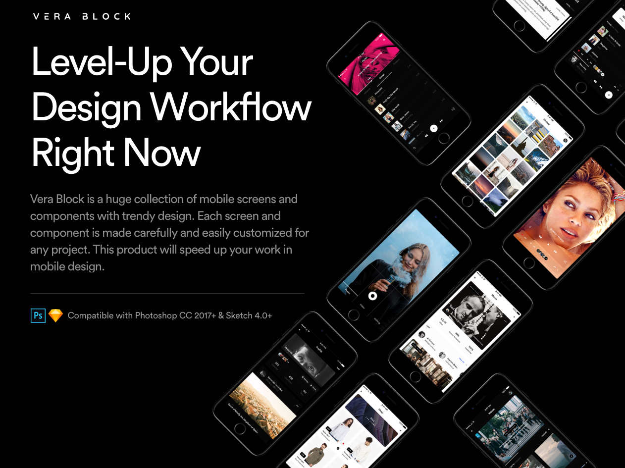 Vera Block Free UI Kit - Vera Block is a huge collection of mobile screens and components with trendy design. Each screen and component is made carefully and easily customized for any project. This product will speed up your work in mobile design.