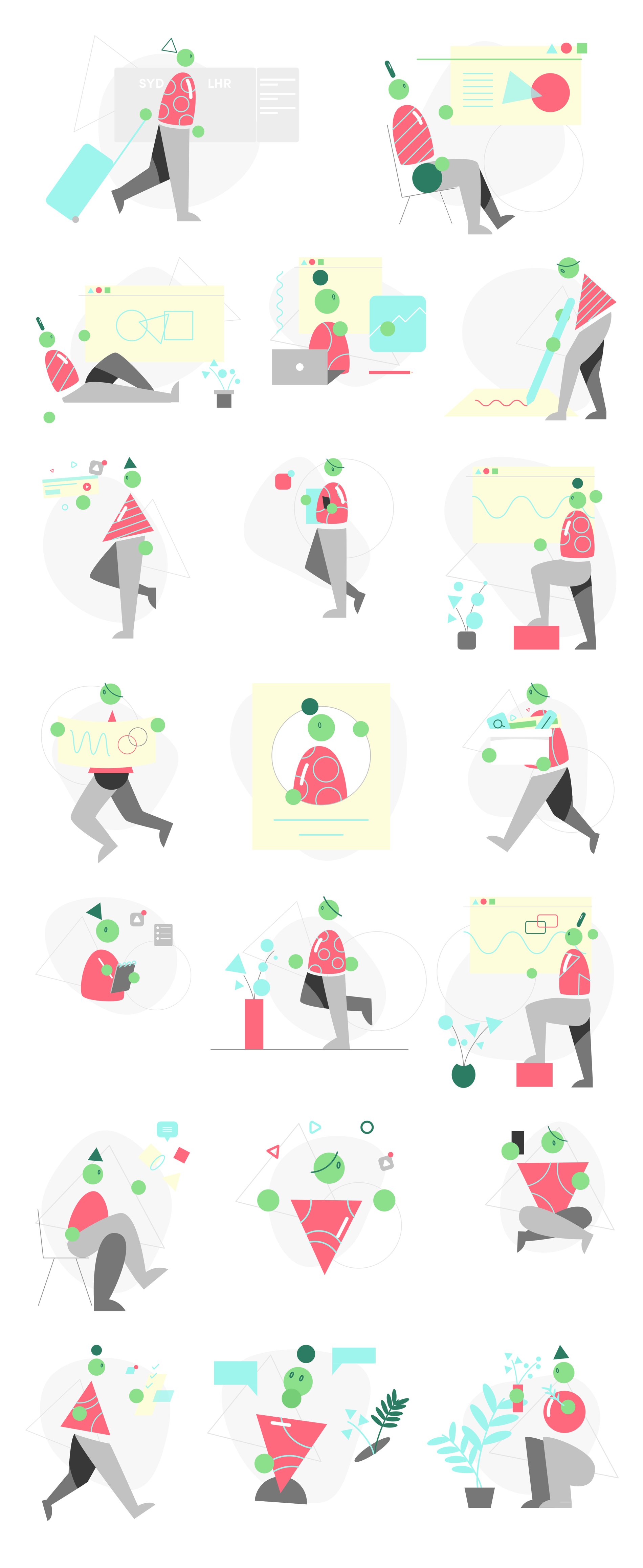 Watermelon Free Illustrations - 20 creative, abstract illustrations featuring interesting characters and motions, ready to make your next startup, website, or project shine. Every illustration in this pack is a 100% vector SVG and can be scaled to any size. Everything can be customised, from colour, to layouts, to backgrounds, scenes, devices, characters, and more, using any vector editing program.